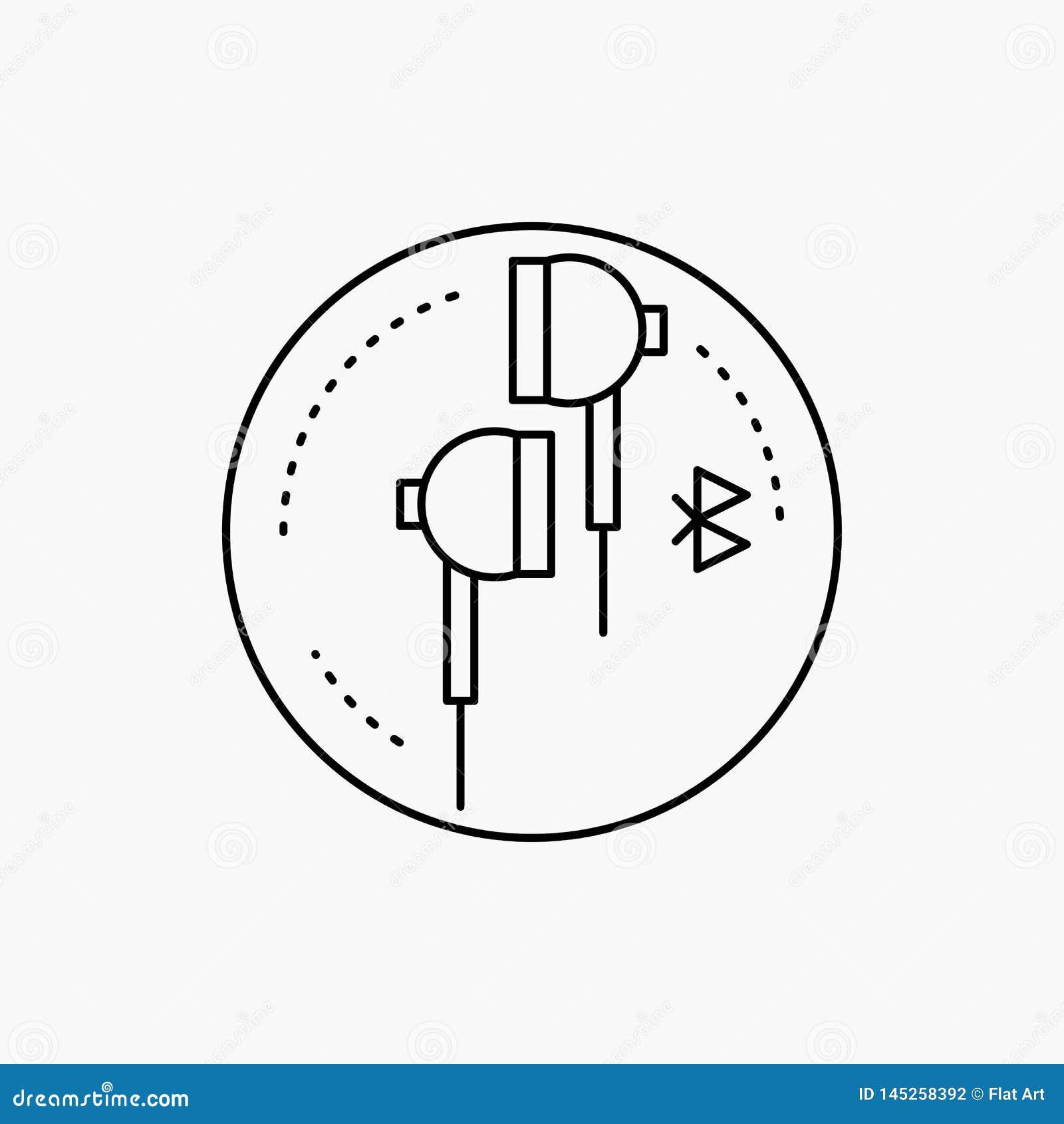 Наушники, ухо, телефон, bluetooth, линия значок музыки Иллюстрация изолированная вектором