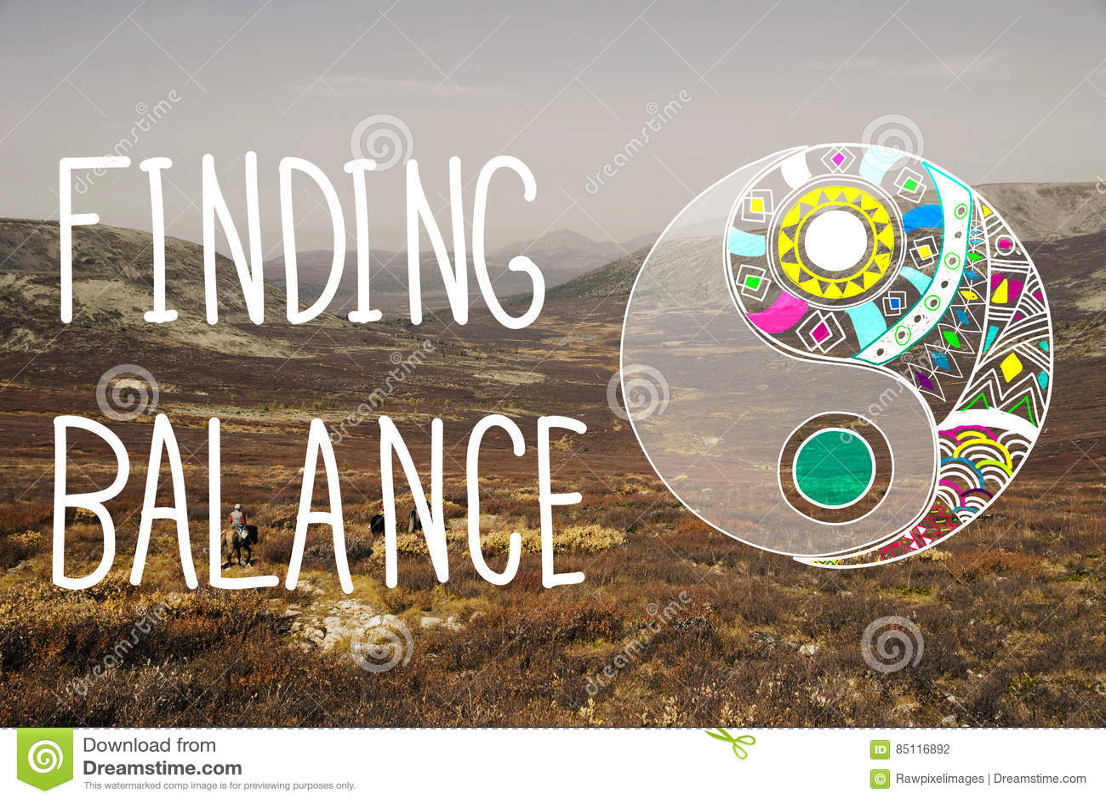 Находить концепция благополучия Yin-yang баланса