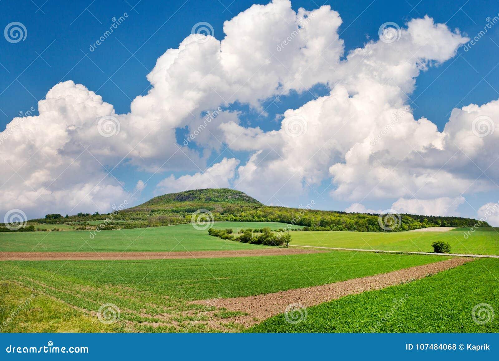 Национальный мистический сулой холма, центральная Богемия, чехия - ландшафт весны с зелеными полями и голубым небом с облаками
