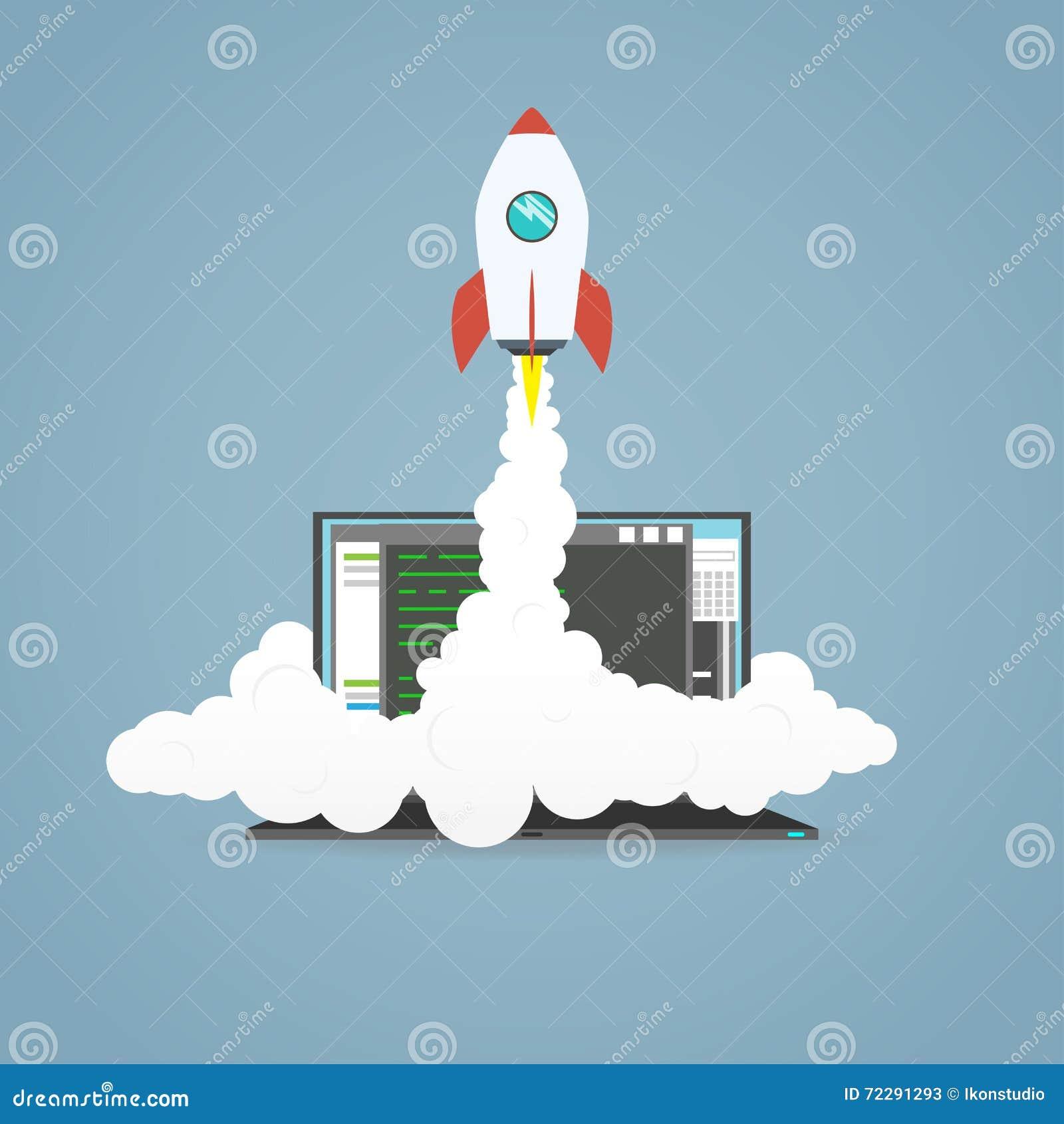Download Начните вверх ракету иллюстрация вектора. иллюстрации насчитывающей шарж - 72291293