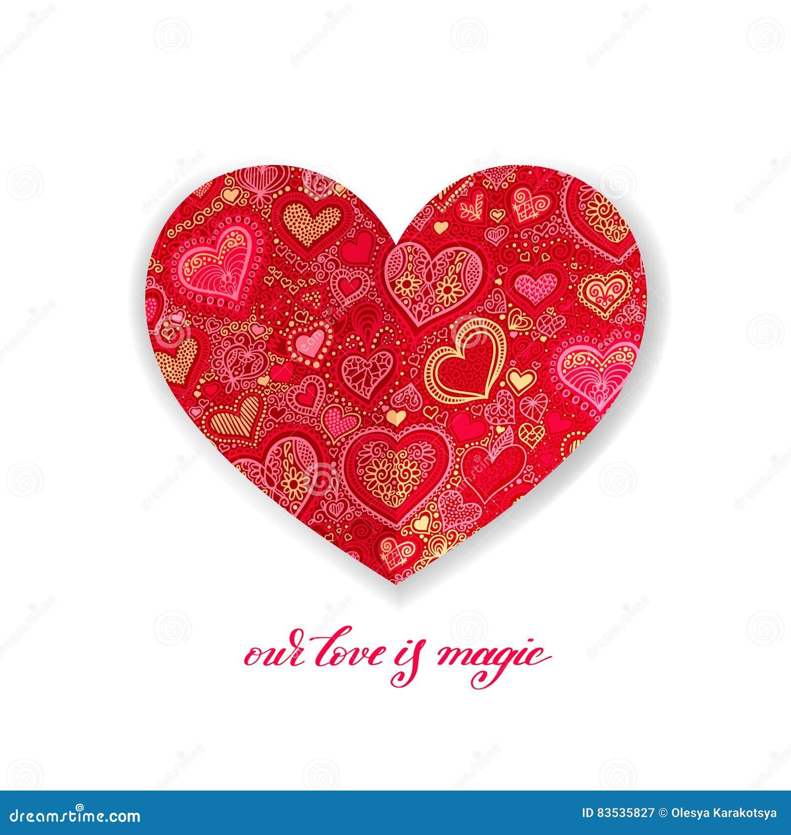 Наша влюбленность волшебный дизайн каллиграфии с красной бумажной формой сердца