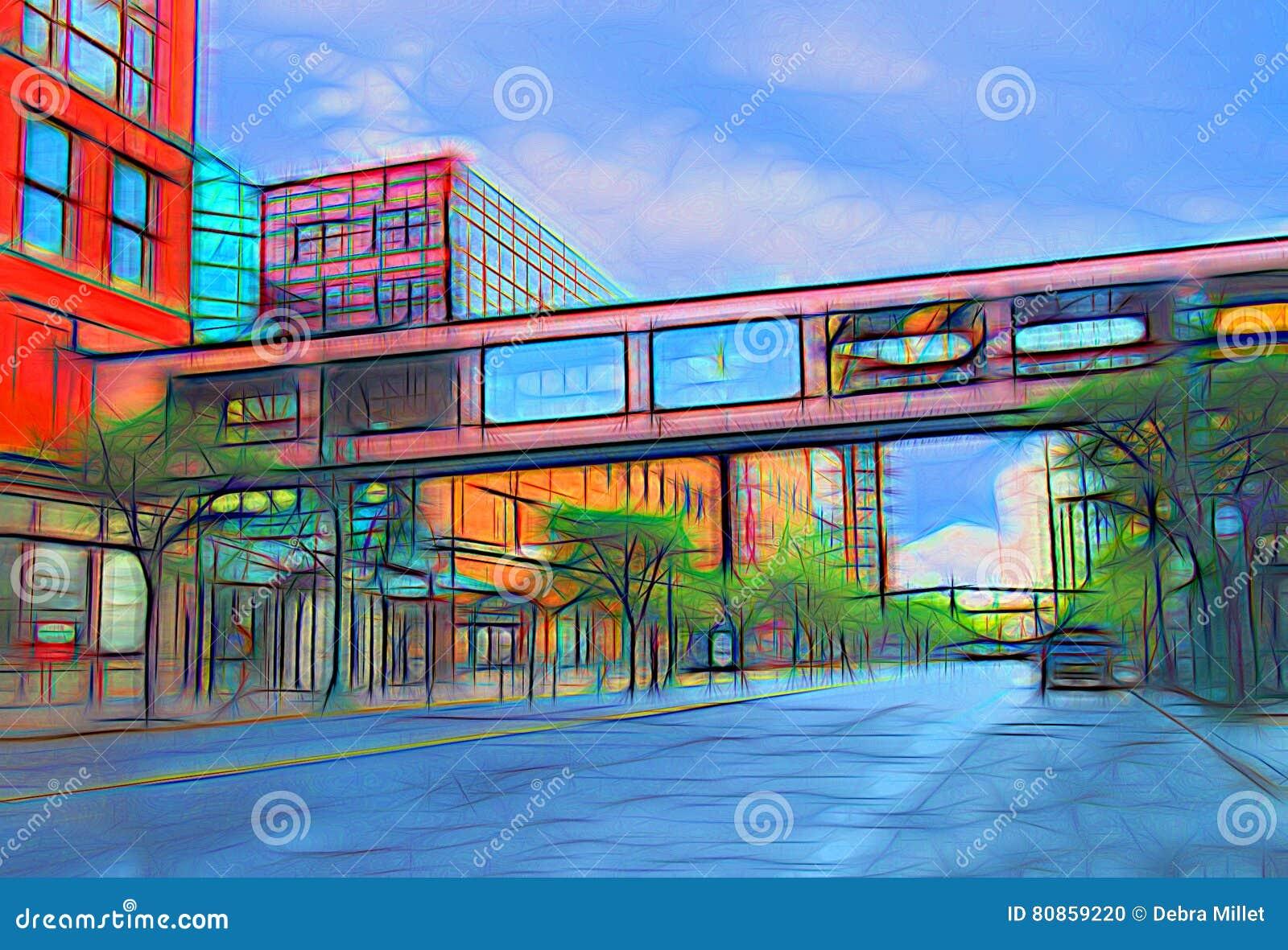 Надземная дорожка в живописании города