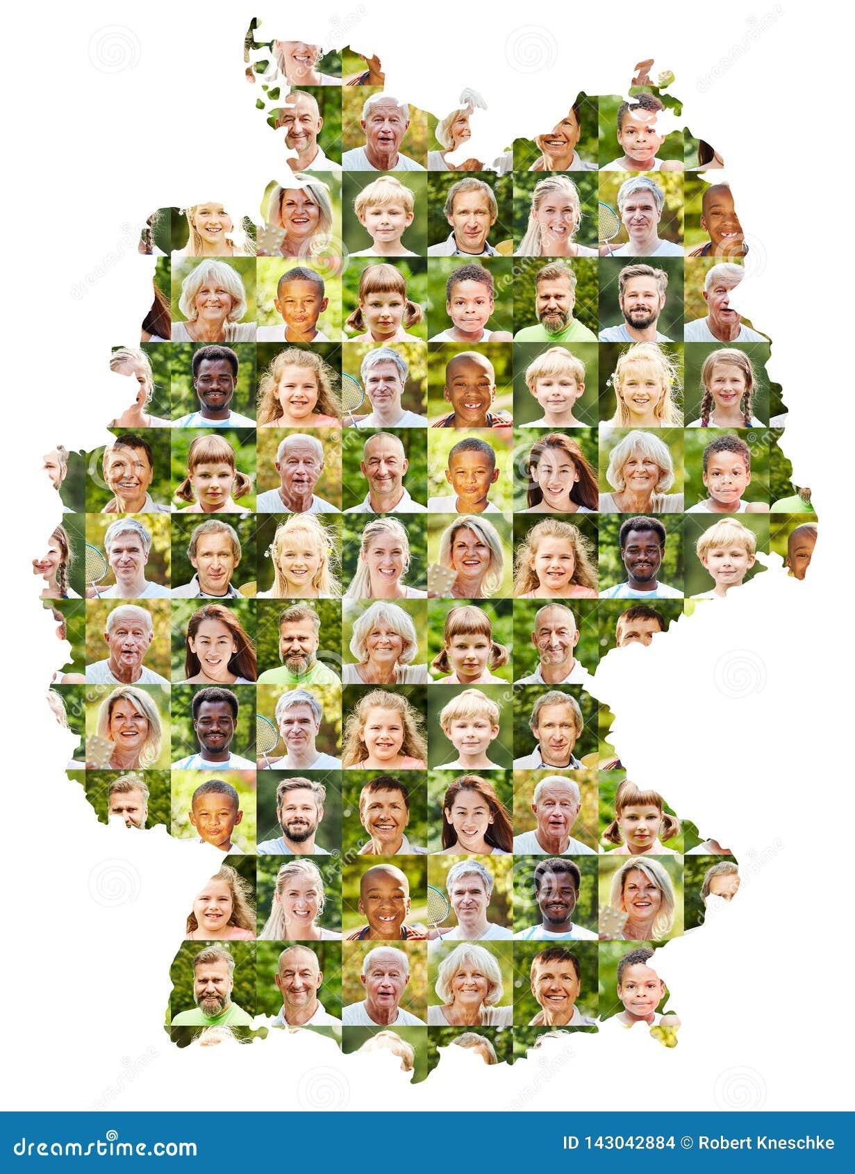 На открытом воздухе коллаж портрета на карте Германии