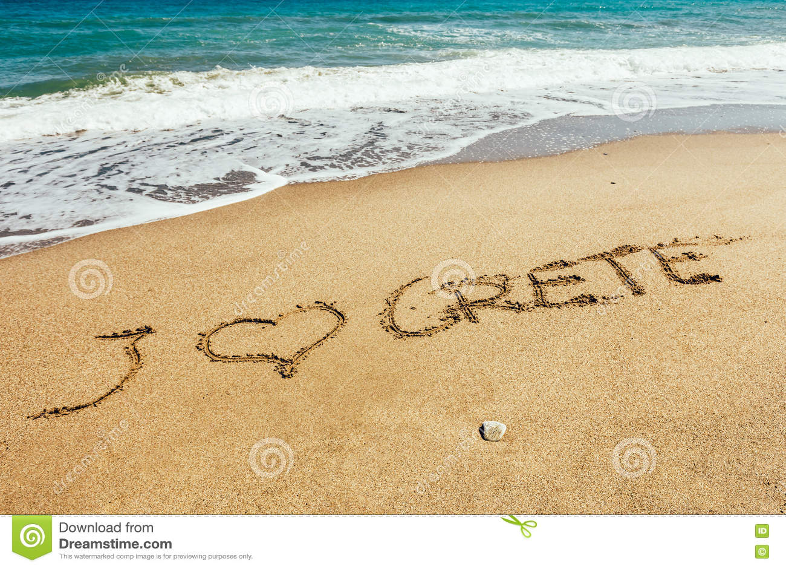 Надпись Крита на песке