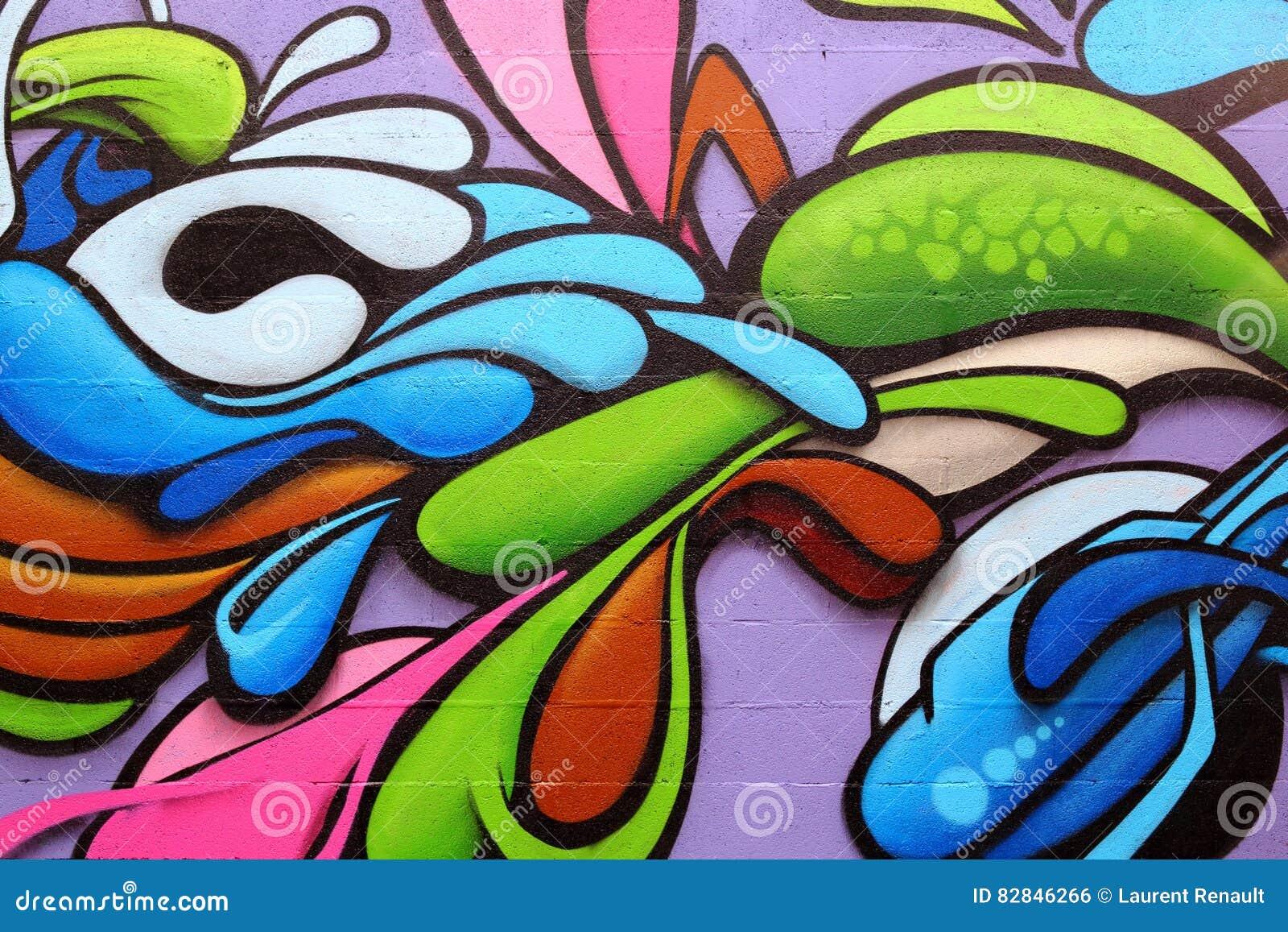 надпись на стенах искусства цветастая