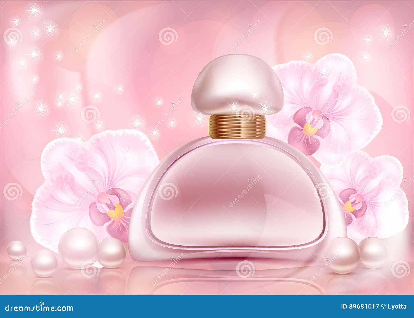 Надушите розовую бутылку рекламы с орхидеями и жемчугами с флористическим орнаментом на сделанном по образцу годе сбора винограда