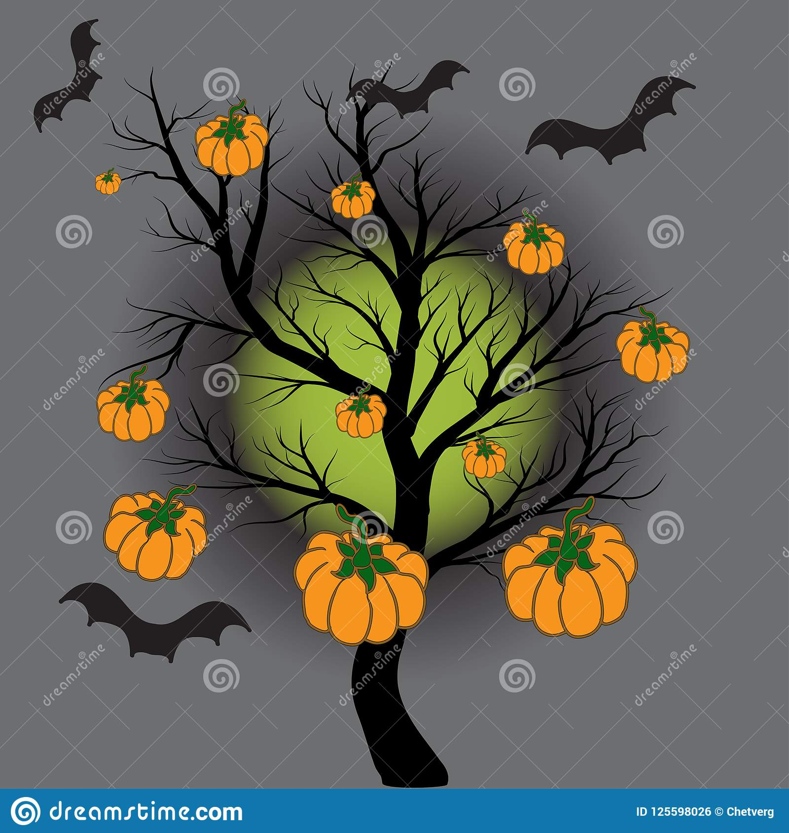 На фоне полнолуния, дерево без листьев На дереве тыквы