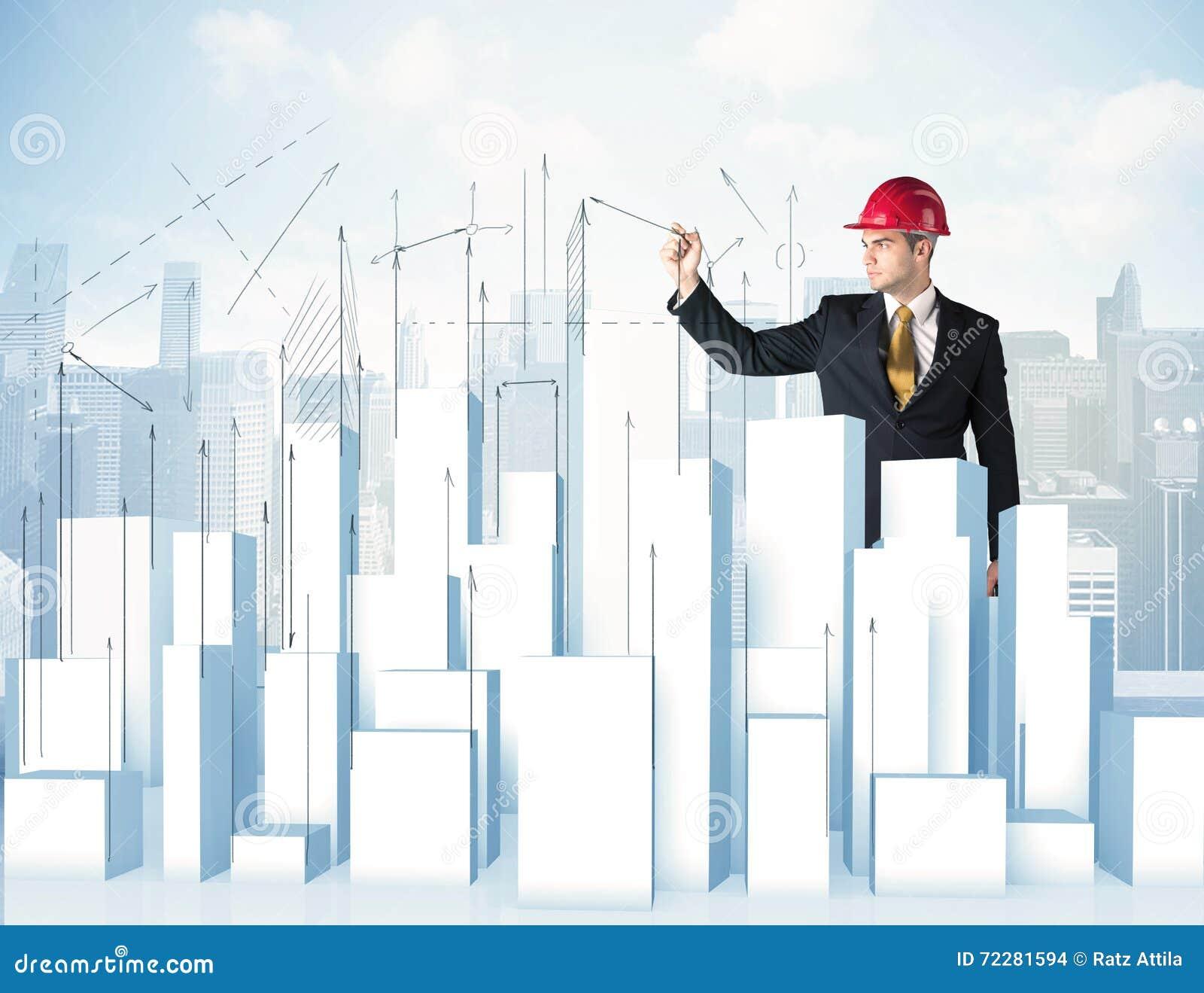 Download Небоскребы чертежа бизнесмена Стоковое Фото - изображение насчитывающей кавказско, дело: 72281594