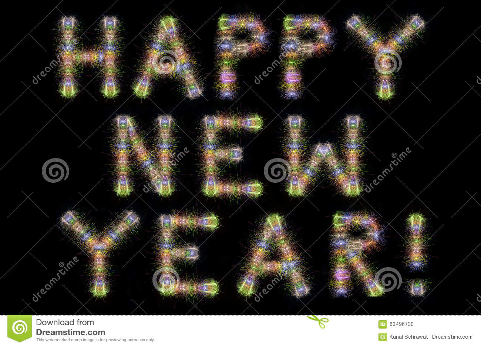 Небо фейерверков счастливого Нового Года красочное сверкная горизонтальное черное