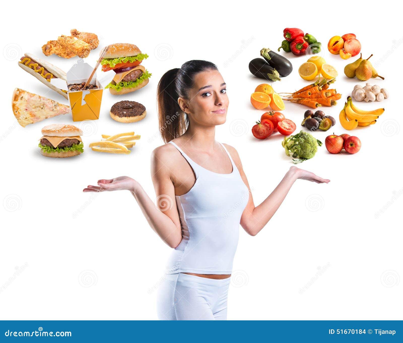 Нездоровый против здоровой еды
