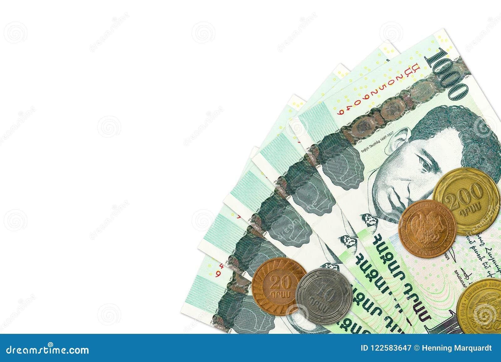 Некоторые 1000 армянских бумажных денег драхмы с армянскими монетками
