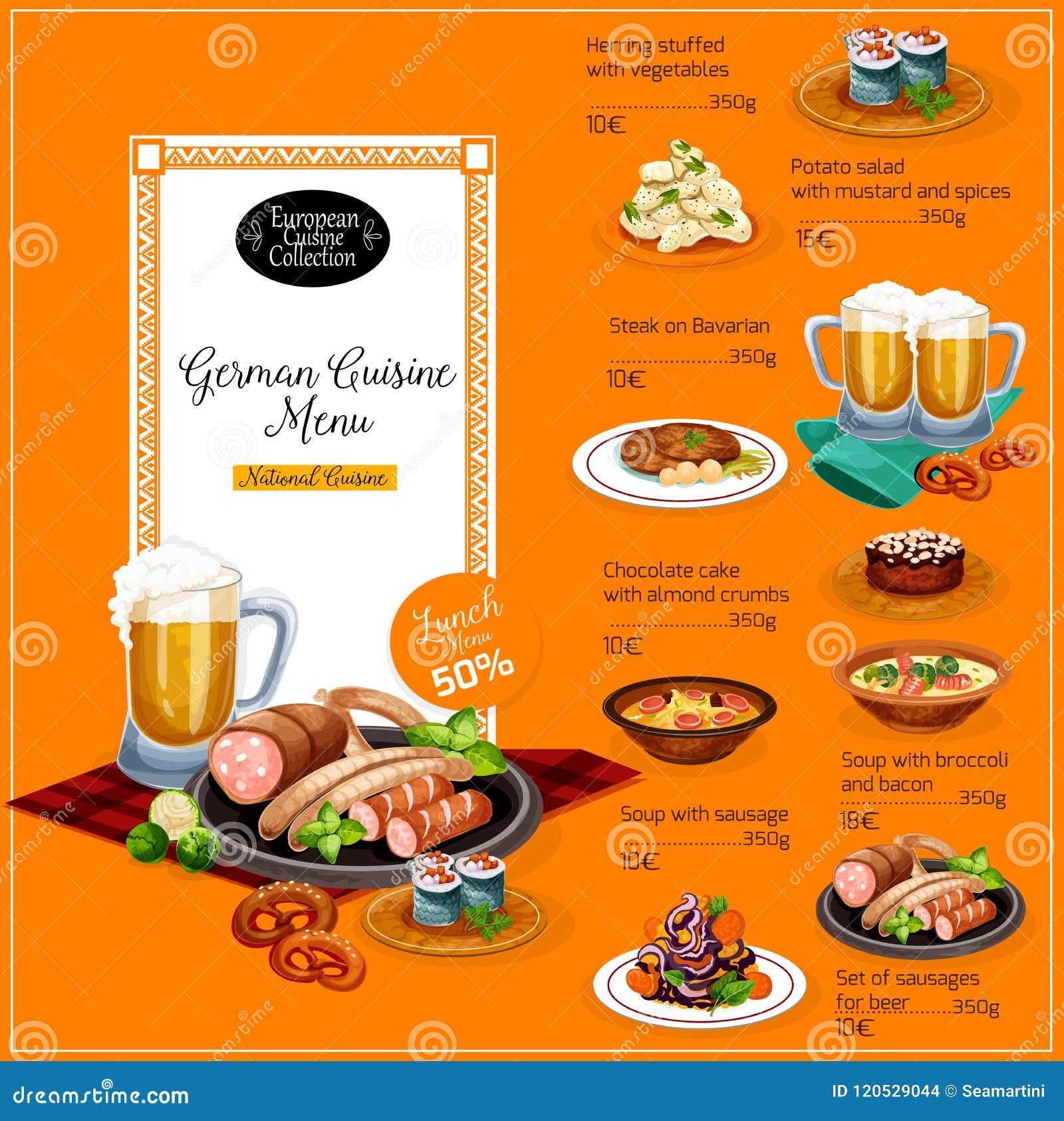 Немецкий шаблон меню обеда ресторана кухни