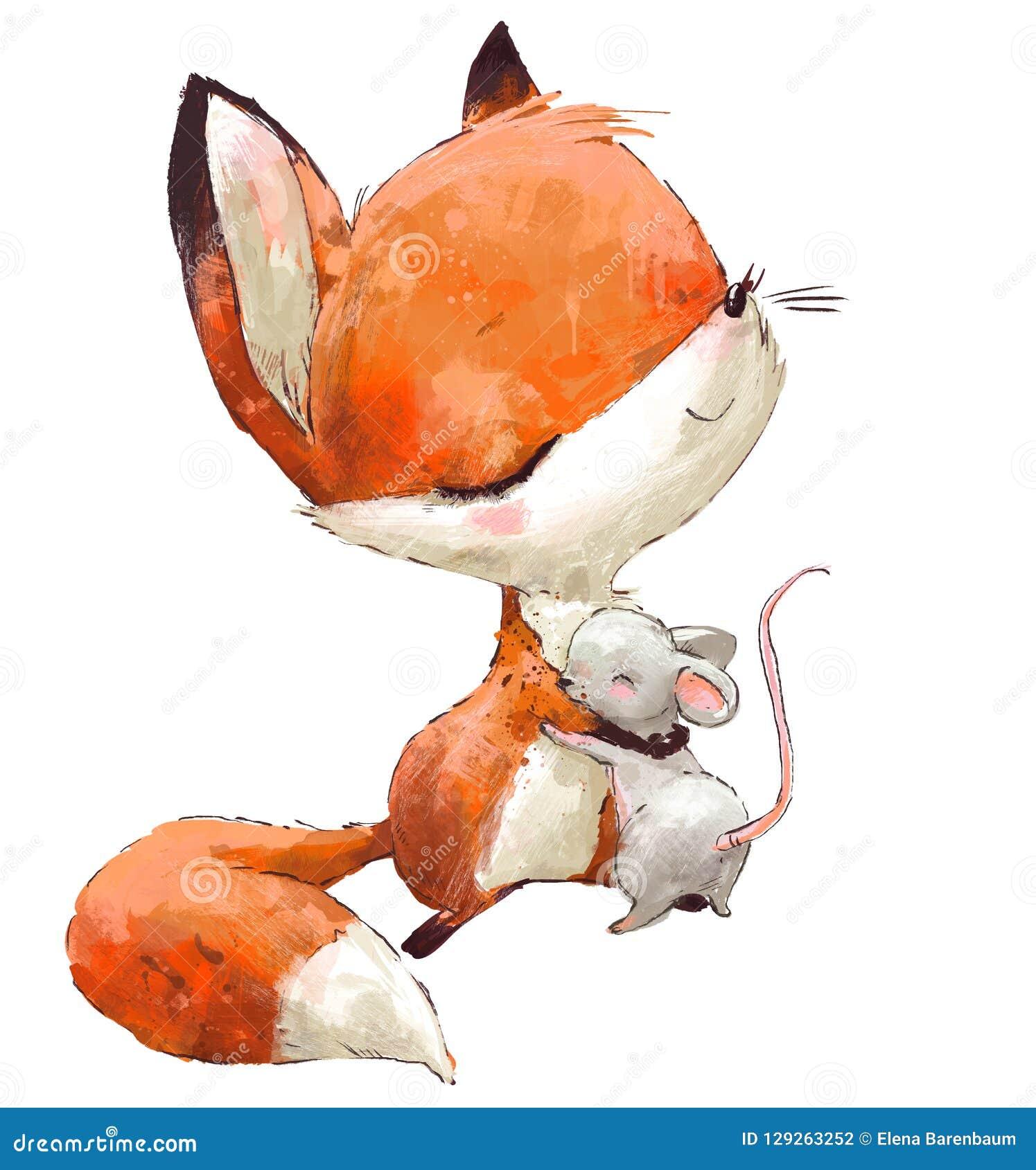 Немногое милая лиса акварели с мышью