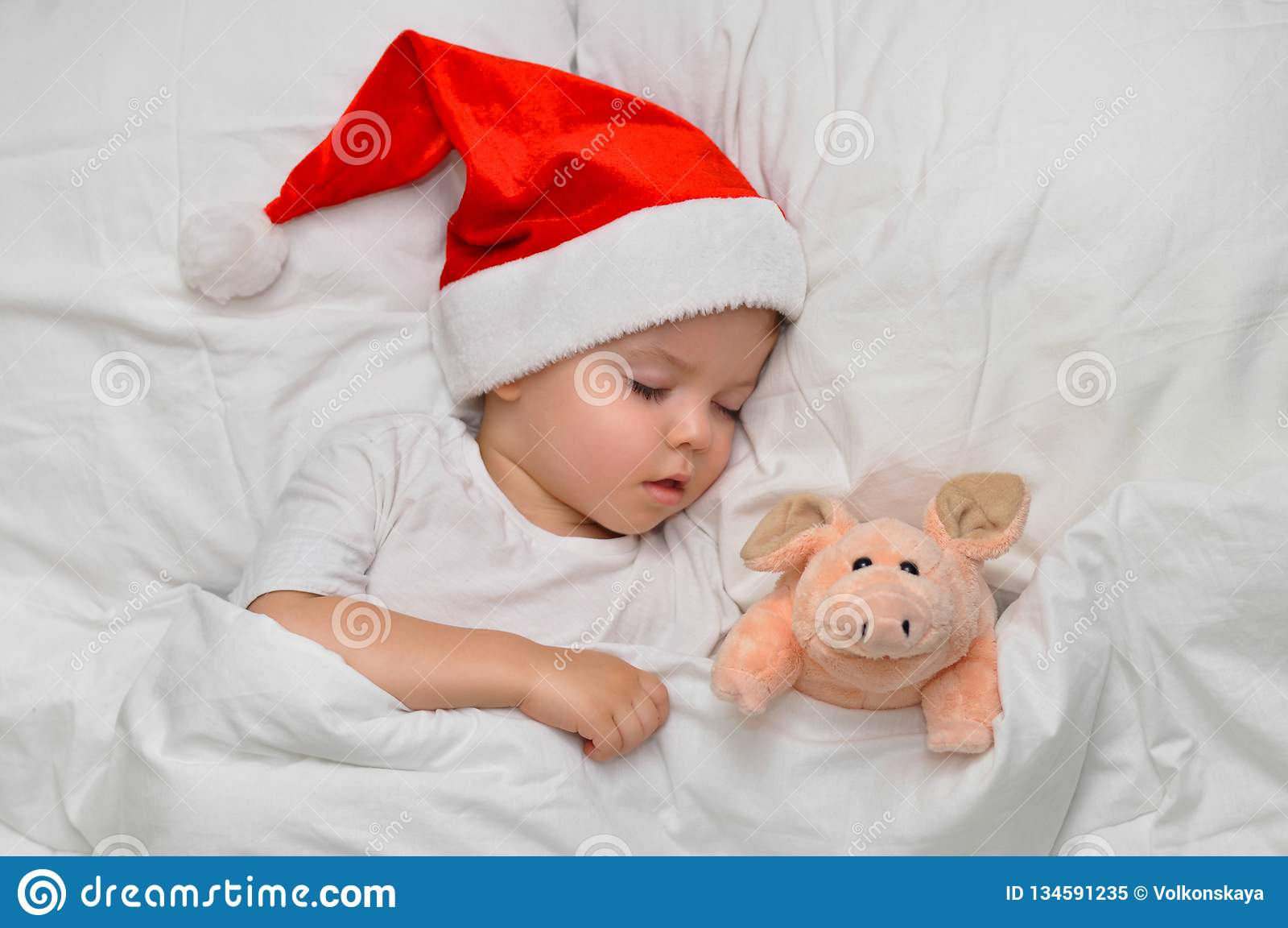 Немногое младенец спать на белом белье в шляпе Санта с его свиньей игрушки, которая символ года 2019