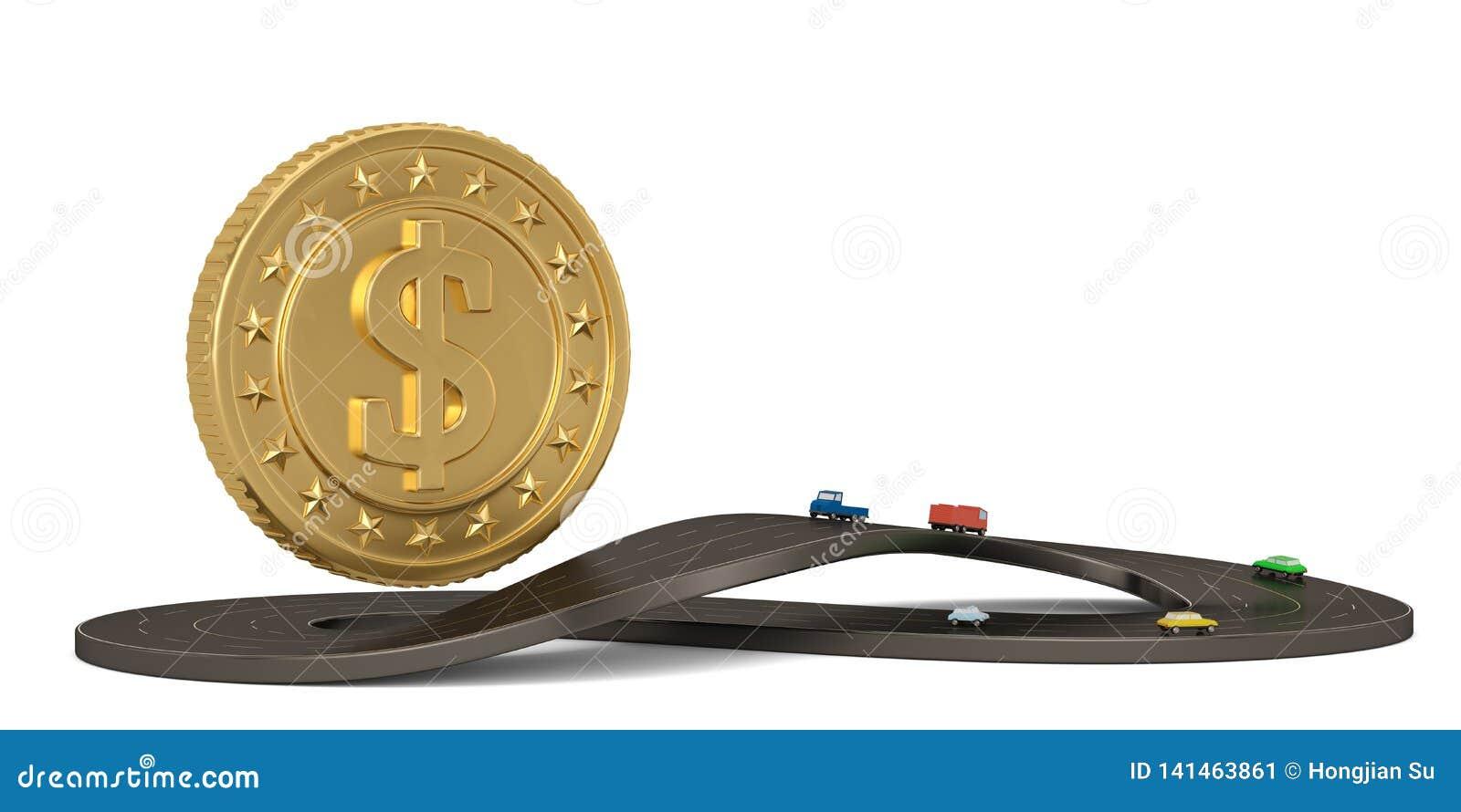 Неограниченная дорога и золотая монета формы символа изолированные на белой предпосылке иллюстрация 3d