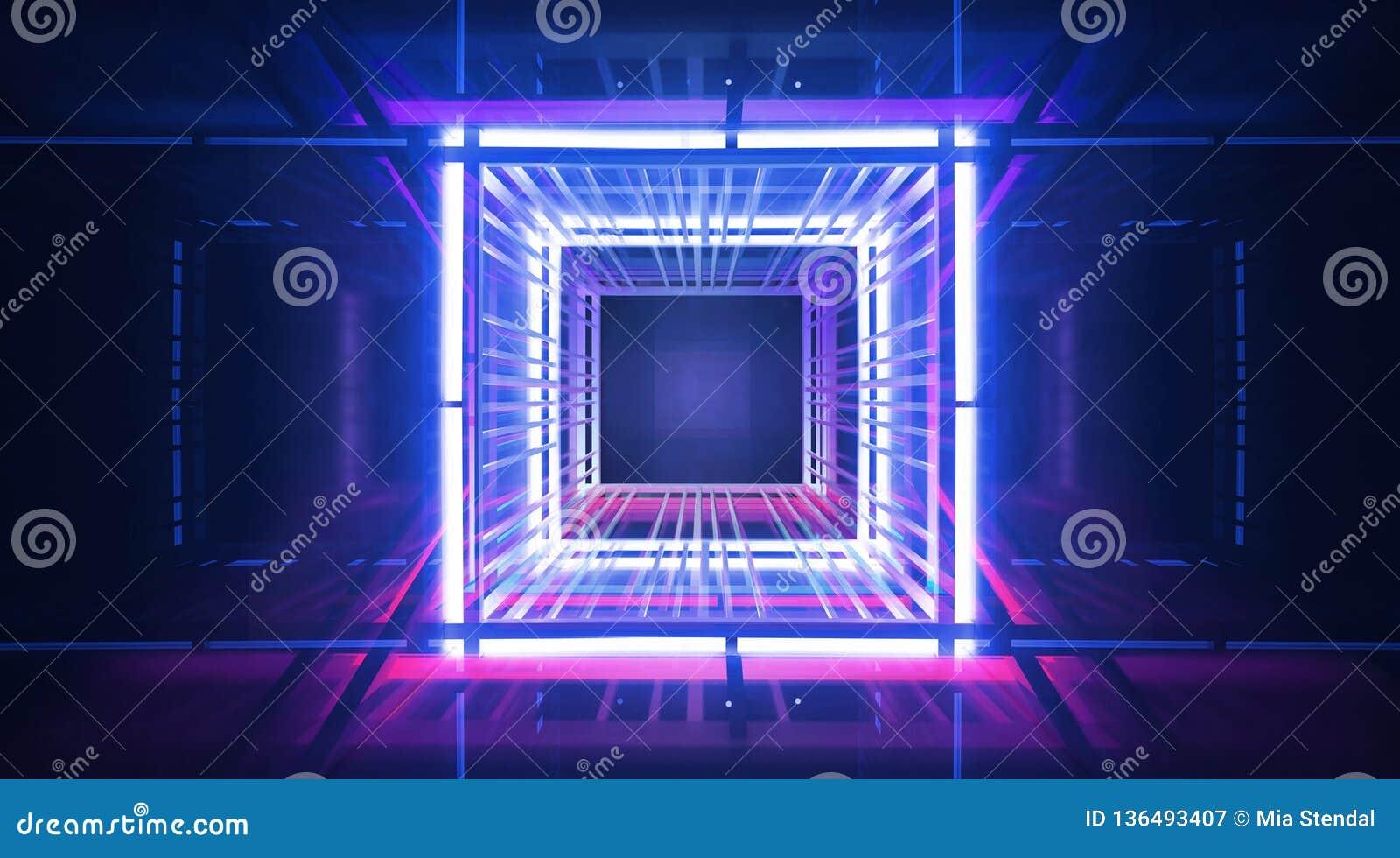 Неоновые предпосылка, лучи и самые интересные, конструкция металла загоренная с голубым и розовым неоном Абстрактная пустая предп