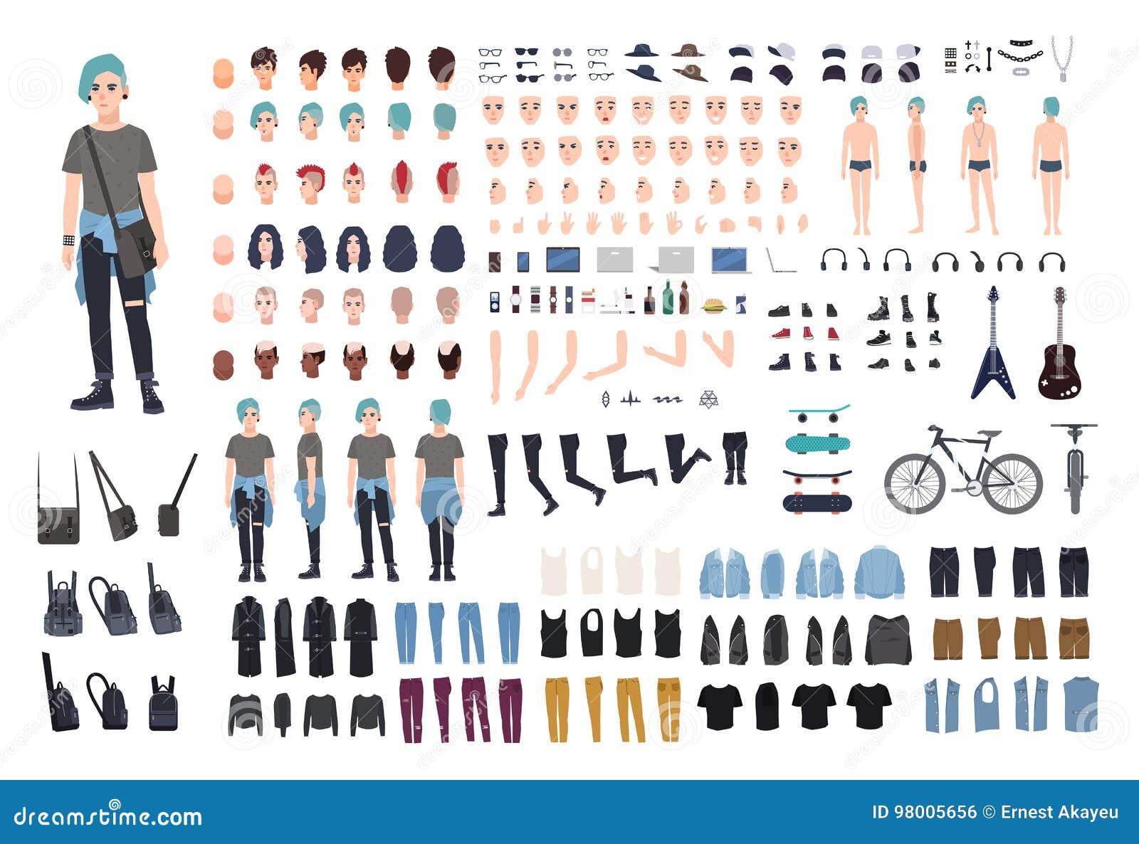 Неофициальный конструктор характера подростка Панковский комплект творения Различные позиции, стиль причёсок, сторона, ноги, руки