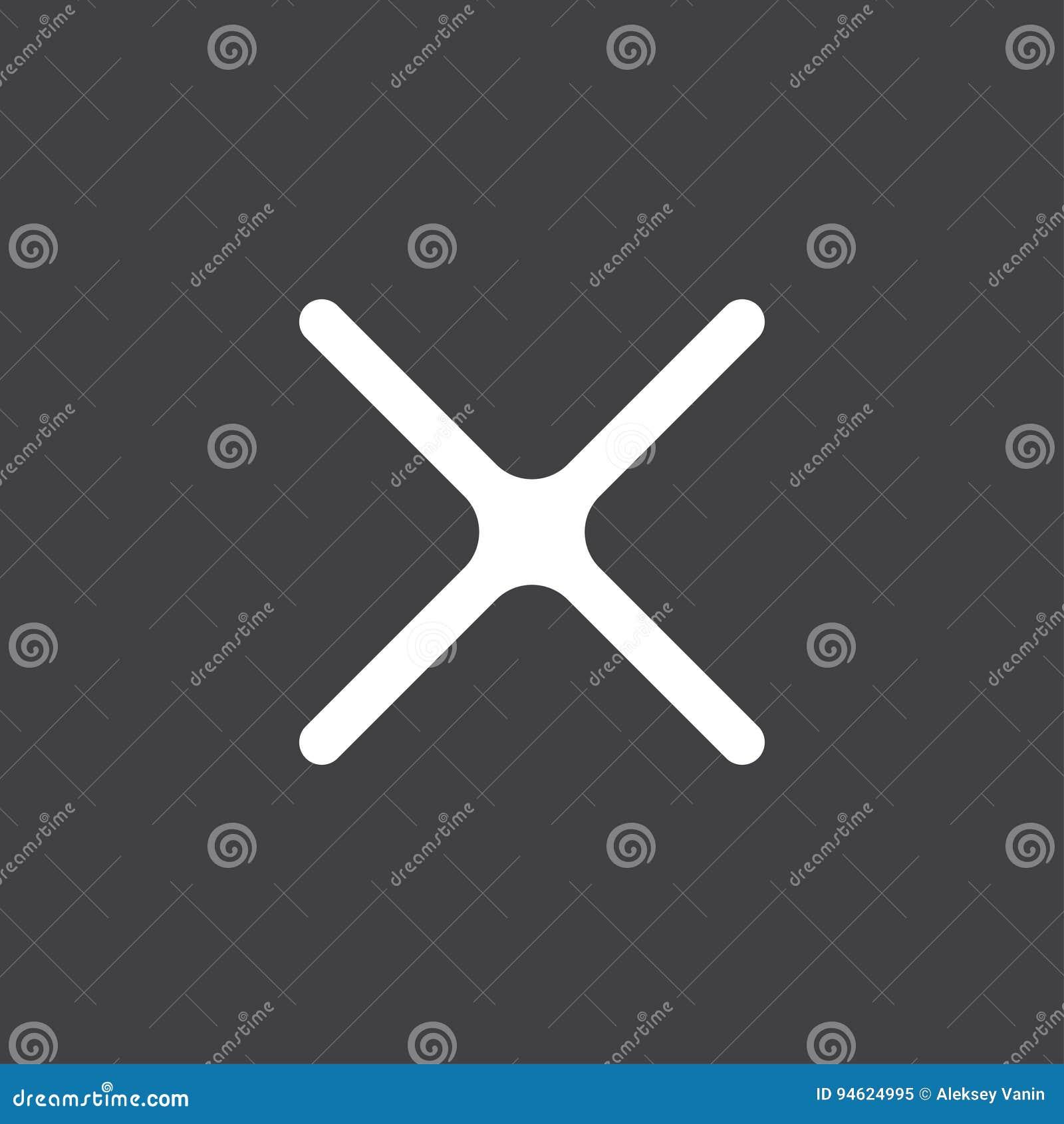 Неправильная метка линия значок вектора икона x