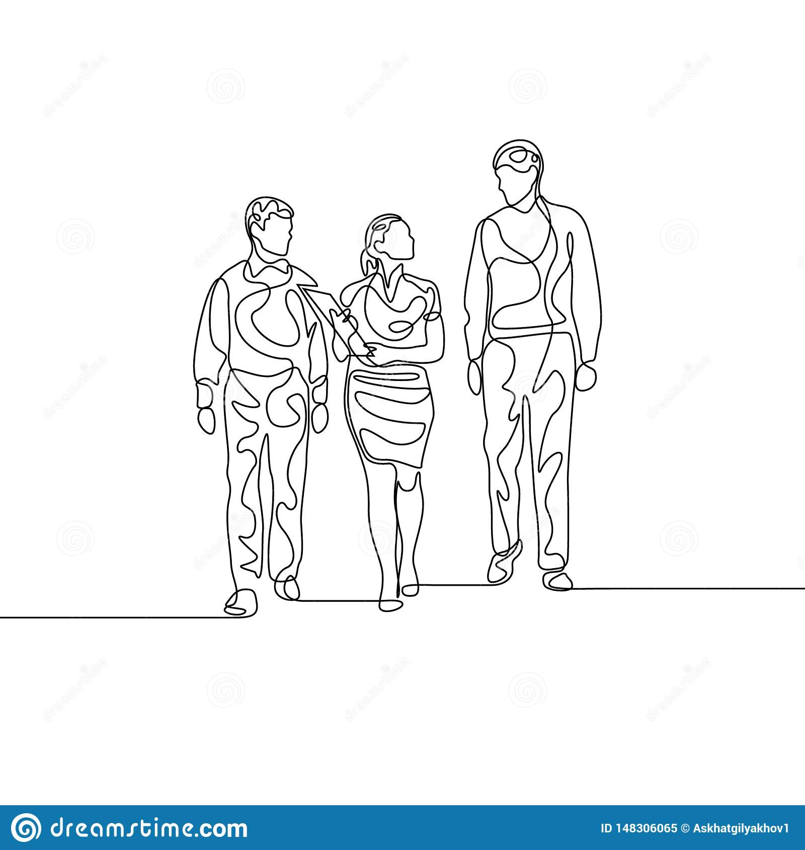 Непрерывная линия коммерсантка с 2 assistans обсуждая работу