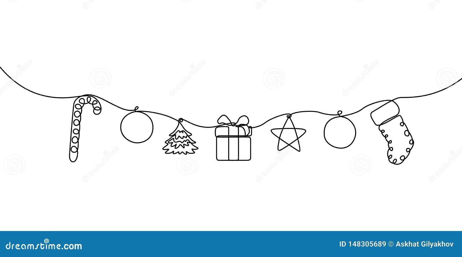 Непрерывная линия конфета, шарик, рождественская елка, подарочная коробка, звезда и носок смертной казни через повешение