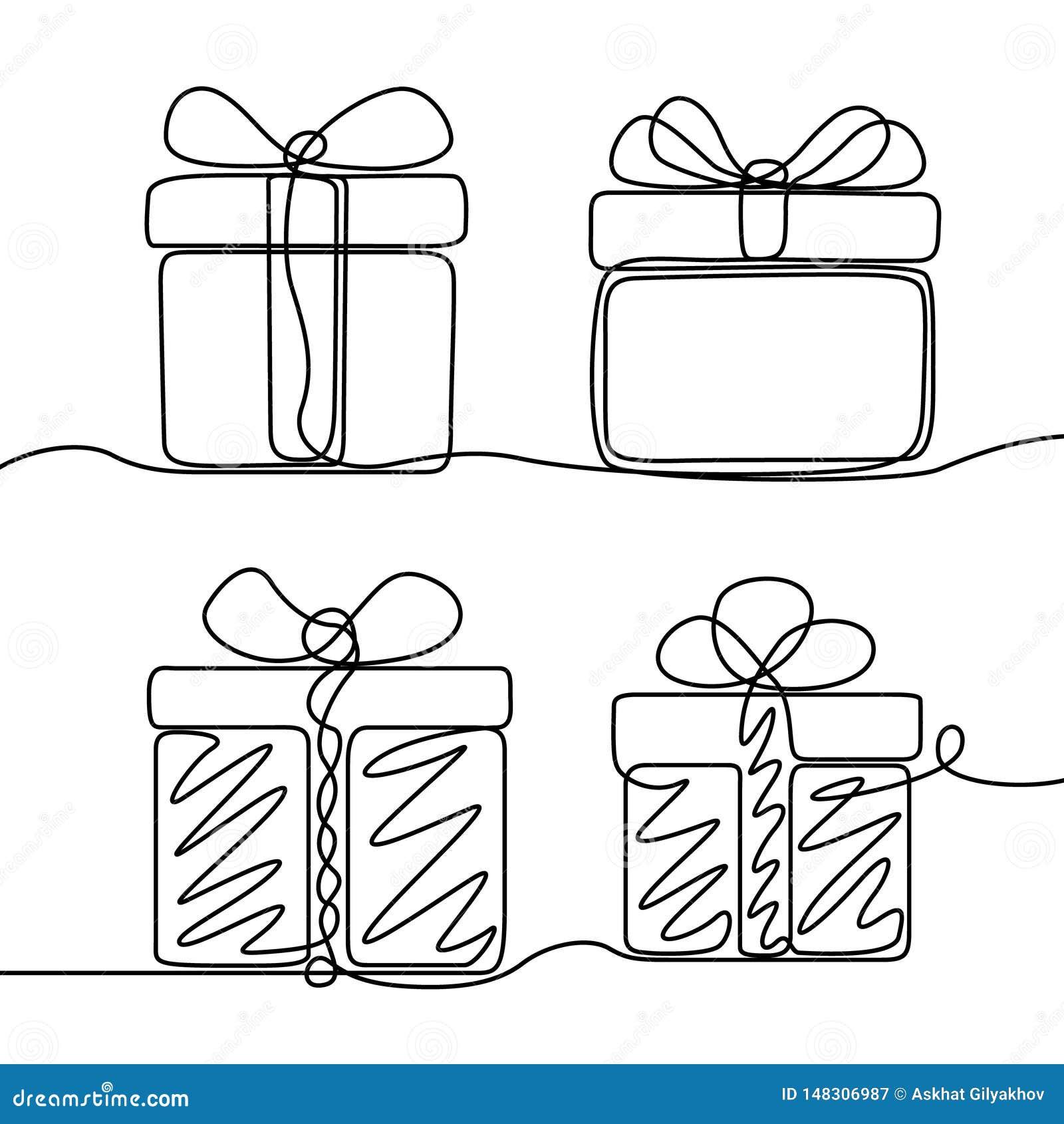 Непрерывная линия набор чертежа коробки подарков Тема Нового Года и счастливого рождеств