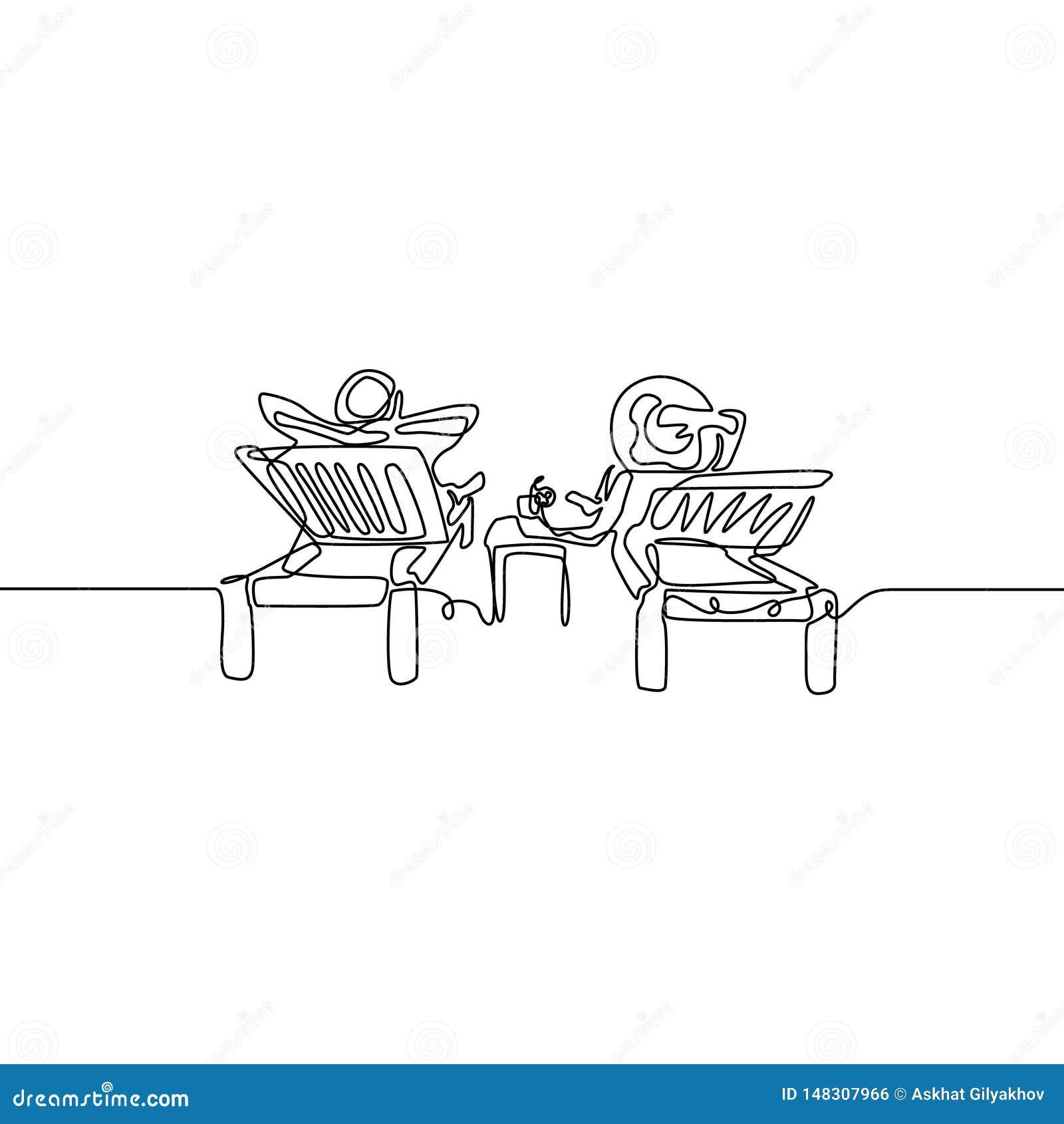 Непрерывная линия пара любов ослабить на deckchair r
