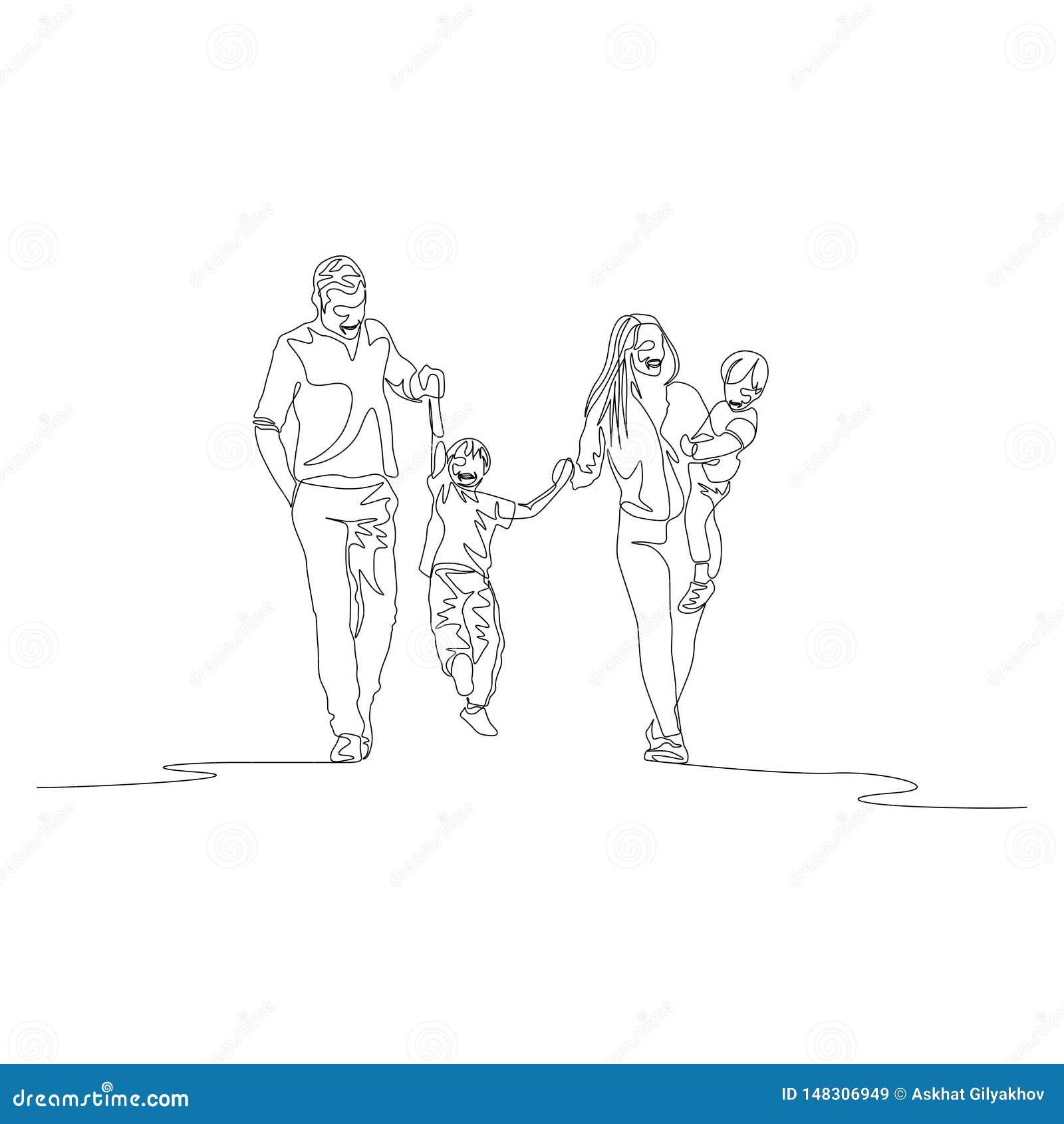 Непрерывная линия семья идя держащ руки и swigning сын