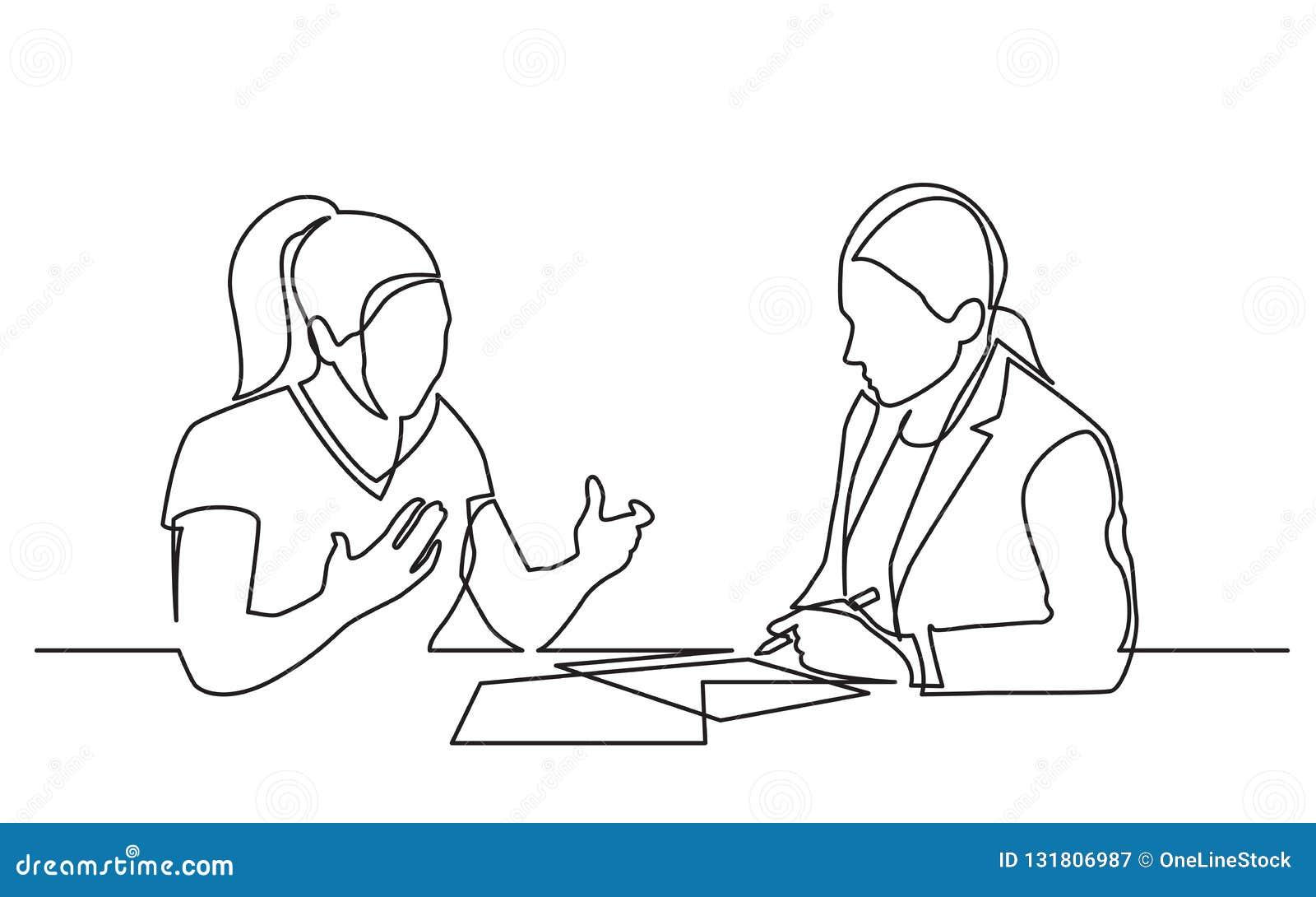 Непрерывная линия чертеж 2 женщин обсуждая подписывающ обработки документов