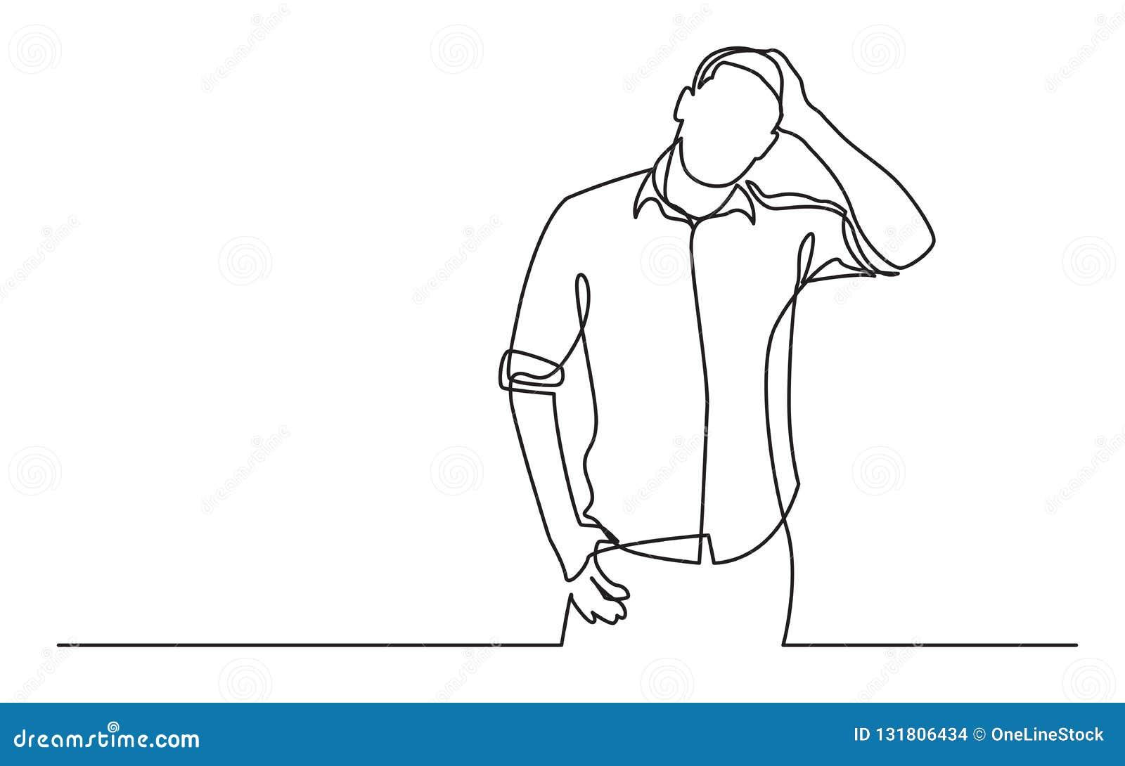 Непрерывная линия чертеж стоя разочарованного человека в рубашке