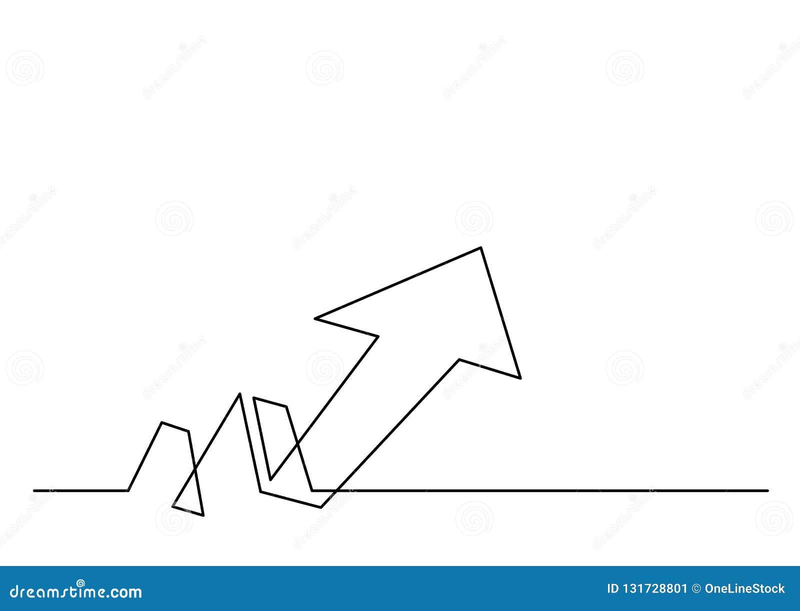 Непрерывная линия чертеж стрелки роста