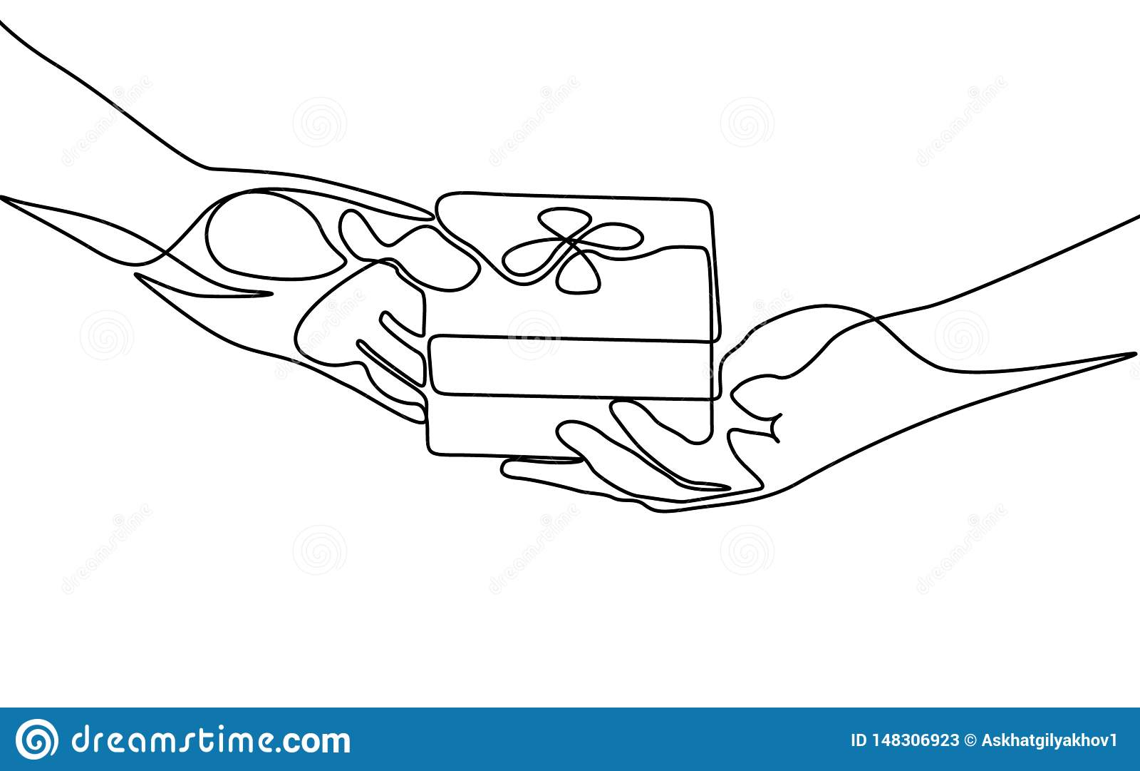 Непрерывная одна линия дать подарок r