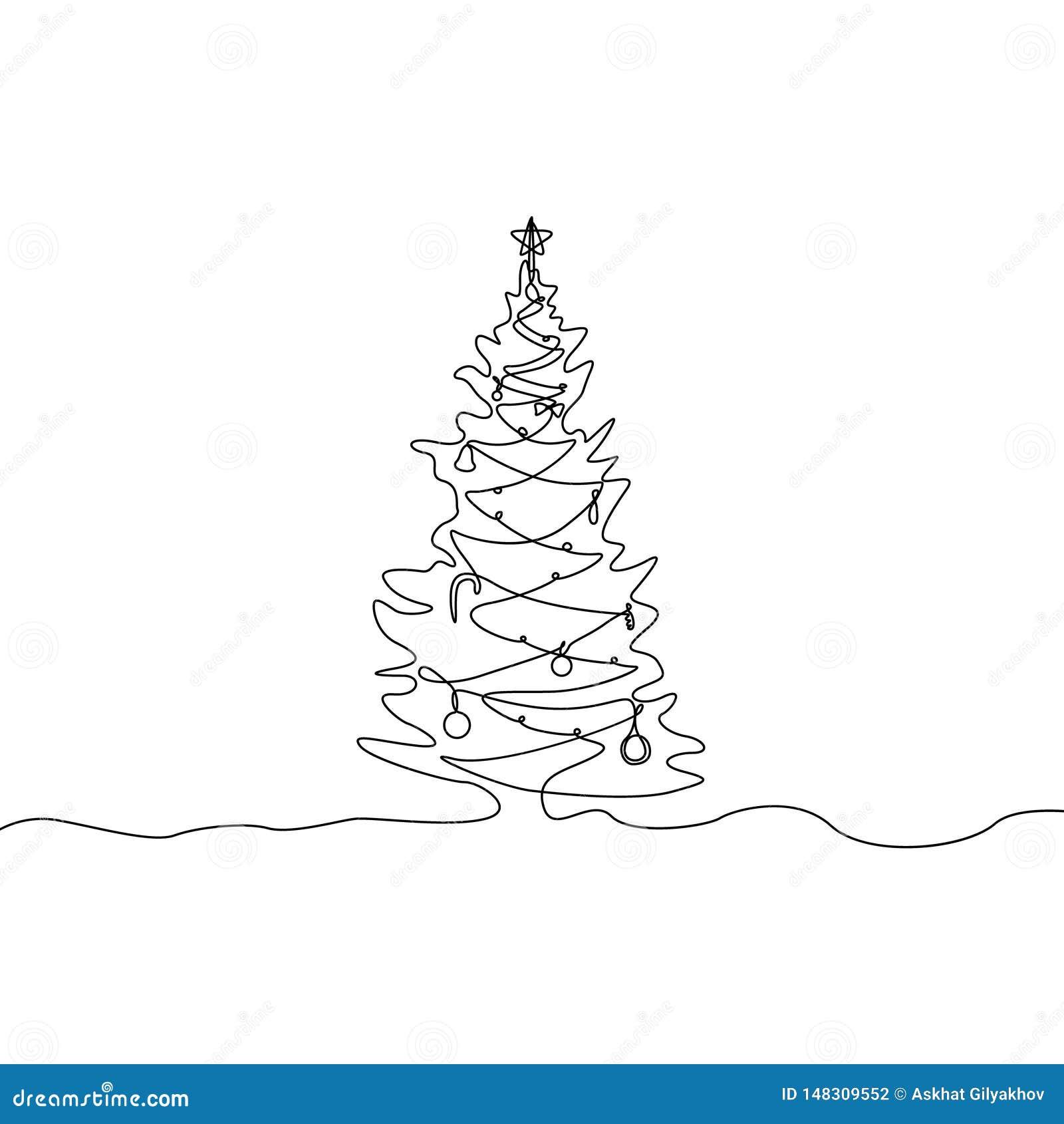 Непрерывная одна линия рождественская елка чертежа с украшениями