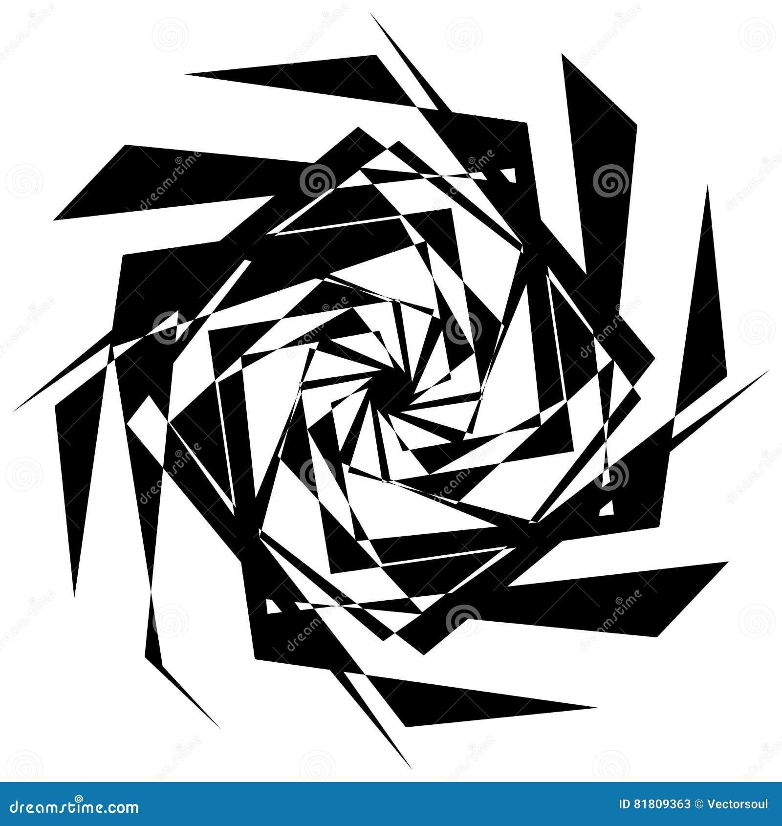 Нервный геометрический элемент, случайная форма Абстрактное monochrome illust