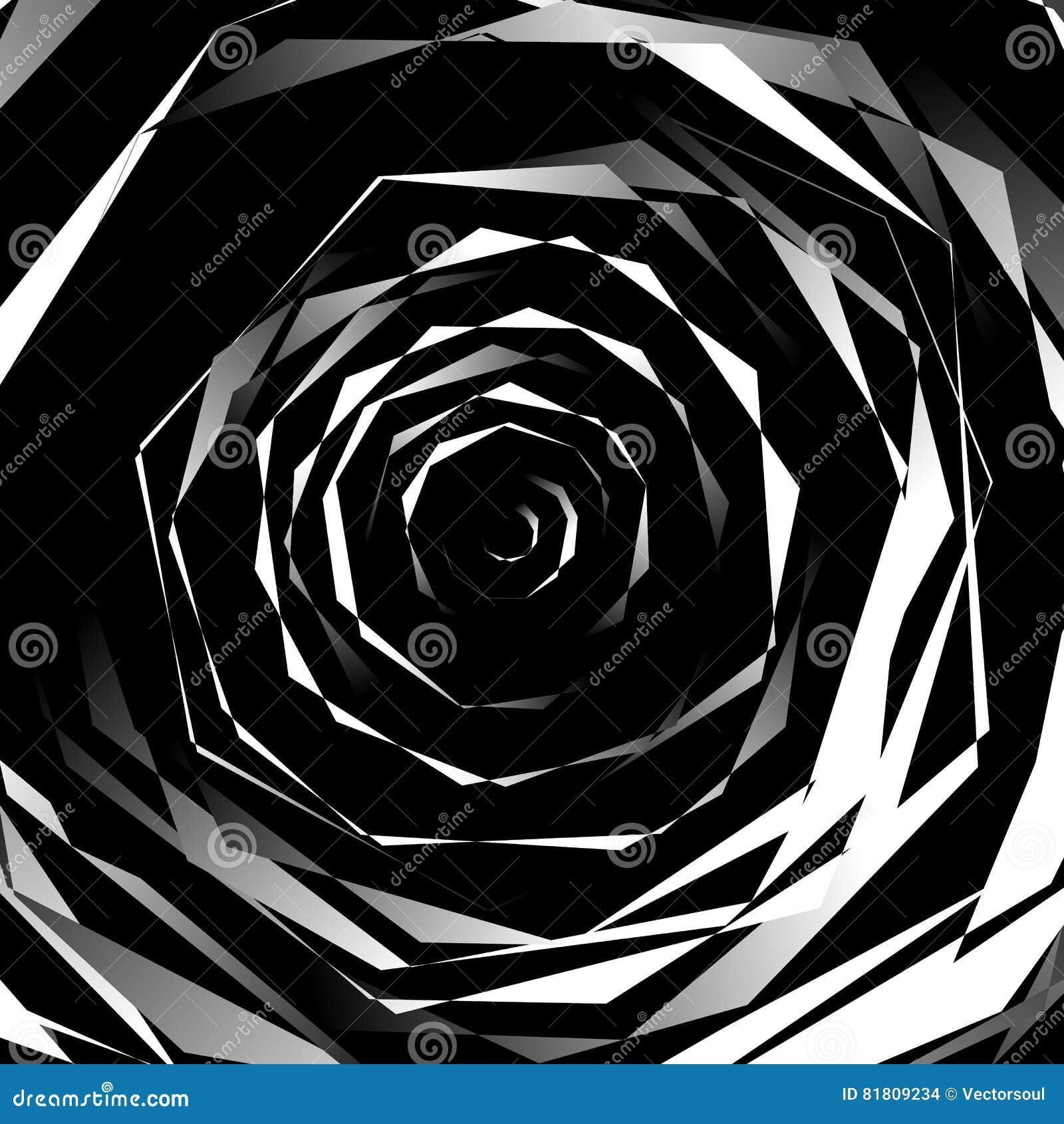 Нервный спирально текстурируйте Абстрактная monochrome, геометрическая картина