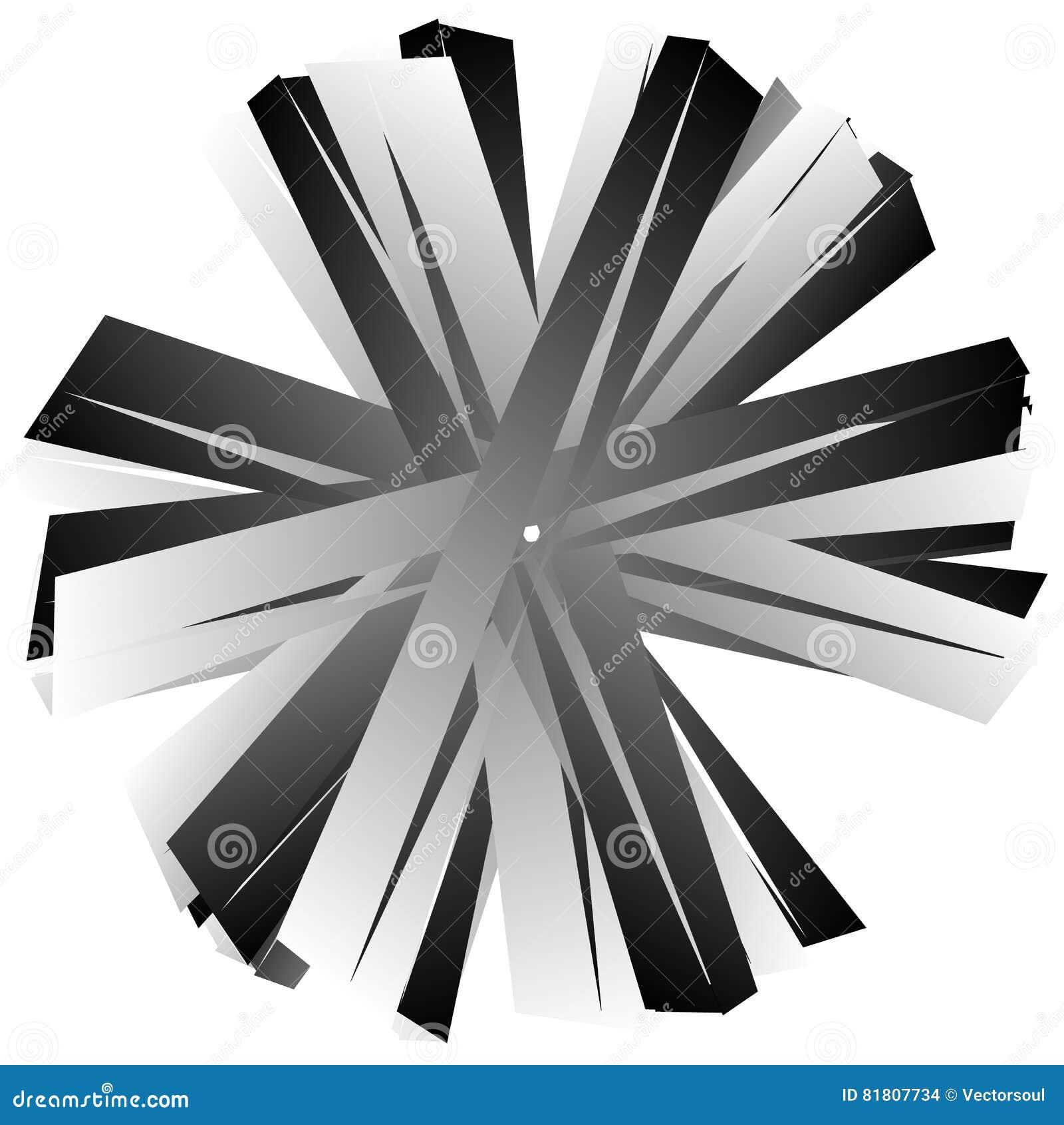 Нервный, угловой геометрический элемент Абстрактная круглая форма на whit