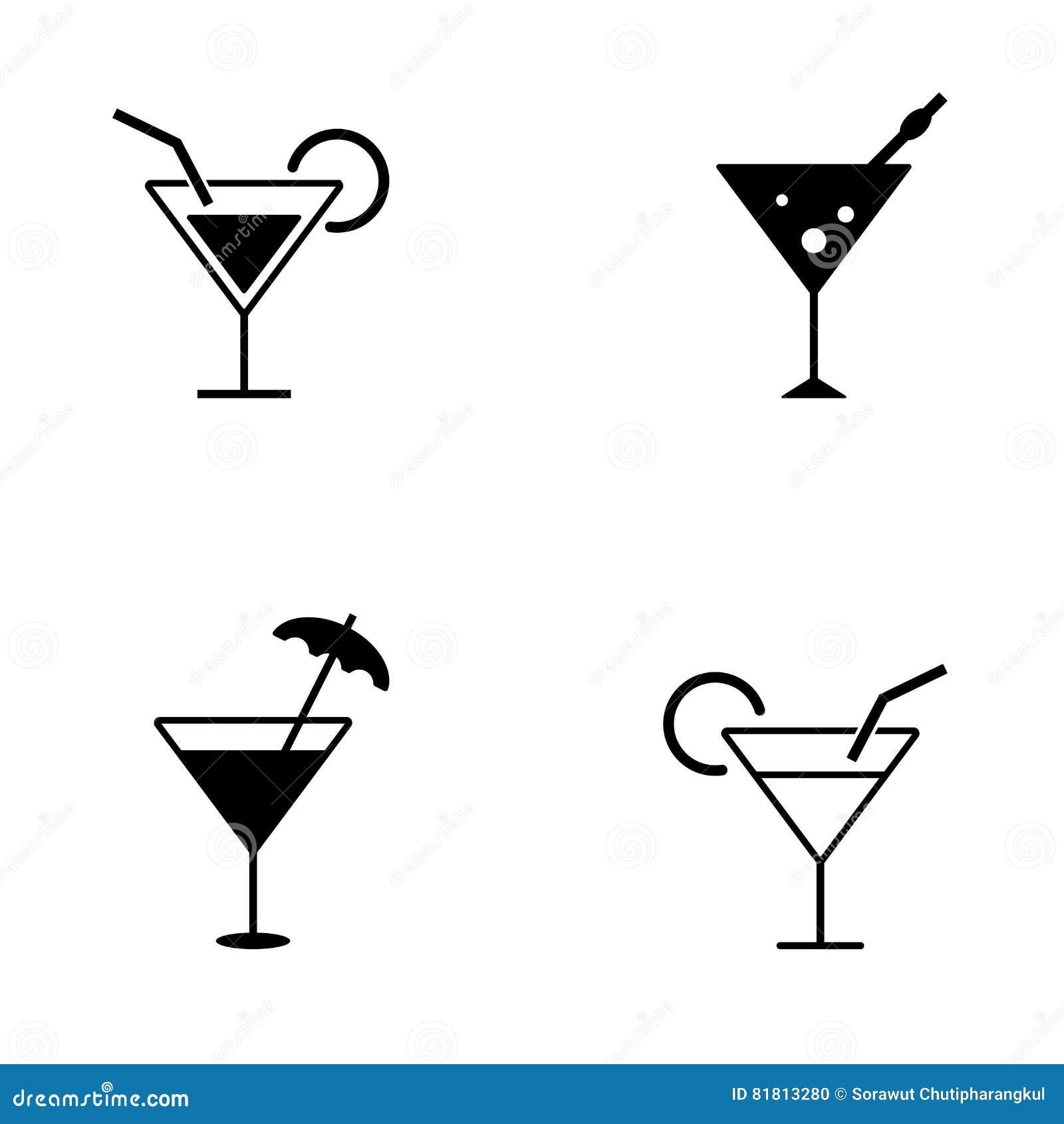 Нескольк стиль значков коктеиля