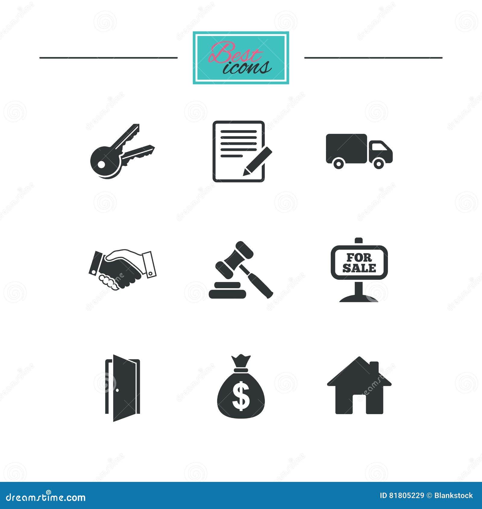 Недвижимость, значки аукциона Рукопожатие, для продажи