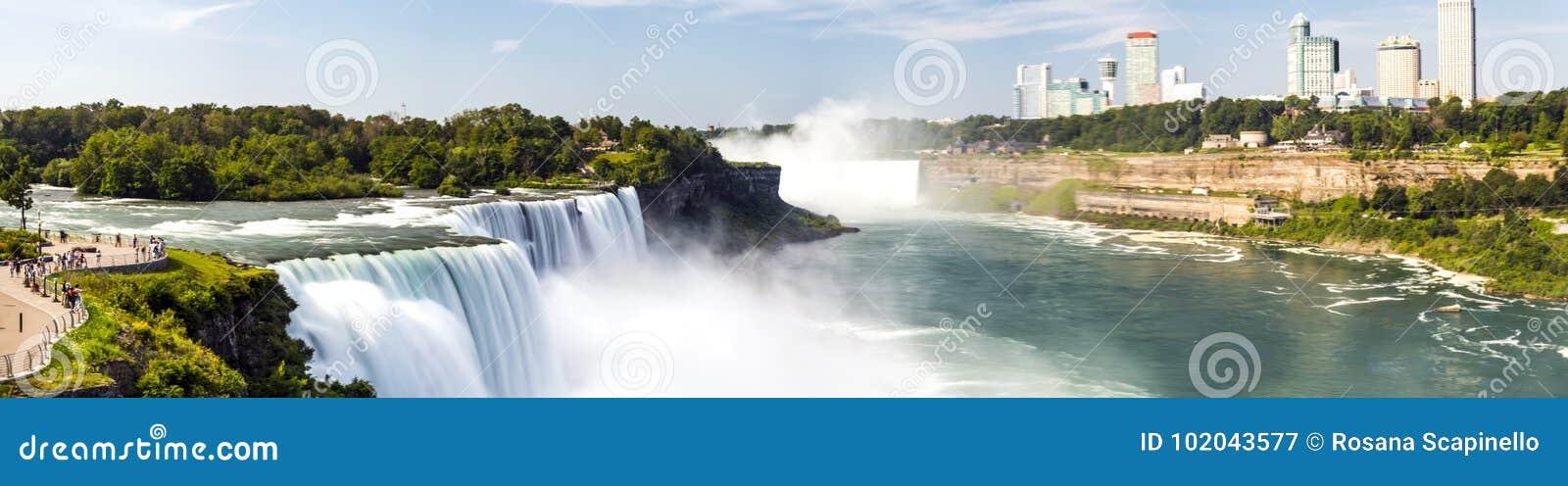 Ниагарский Водопад, панорама, долгая выдержка, silk вода - Нью-Йорк
