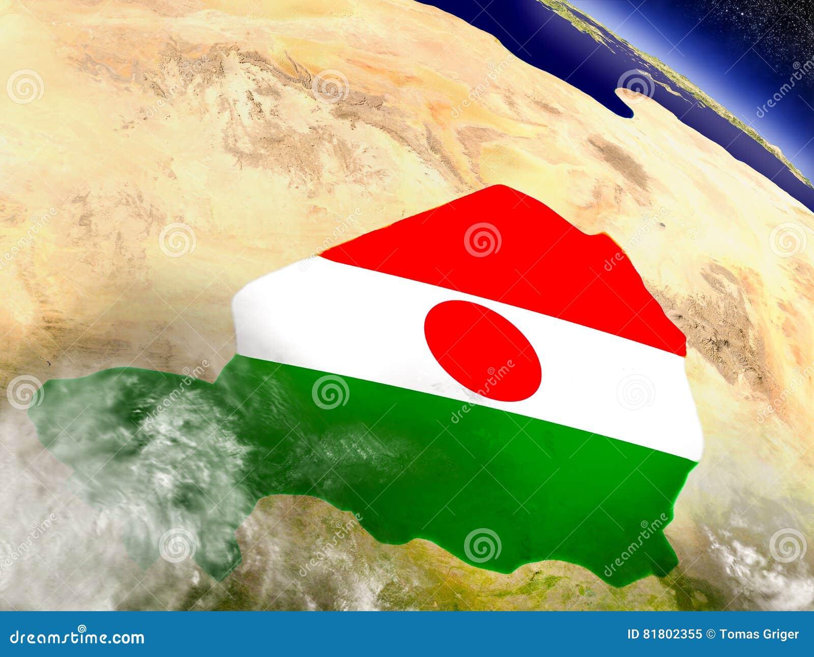 Нигер с врезанным флагом на земле