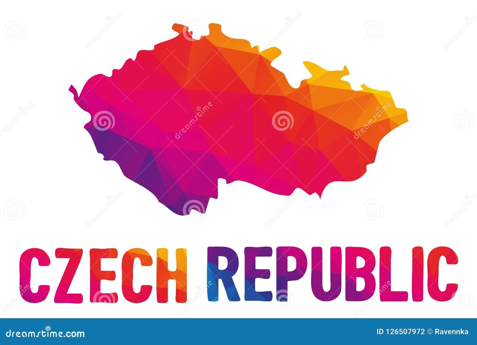 Низкая полигональная карта republika Ceska чехии, также