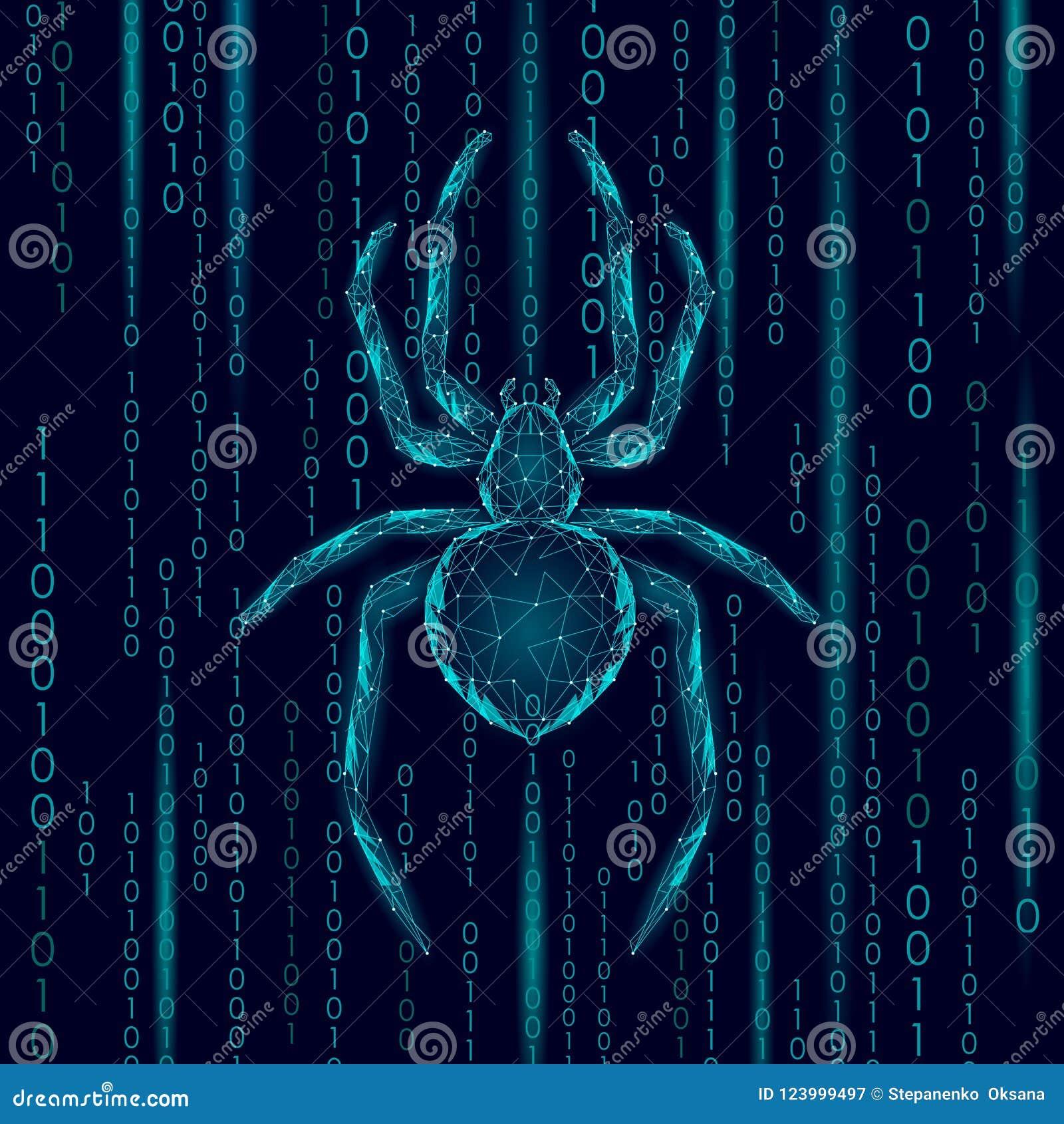 Низкая поли опасность нападения хакера паука Концепция антивируса безопасности данным по вируса безопасностью сети Полигональное