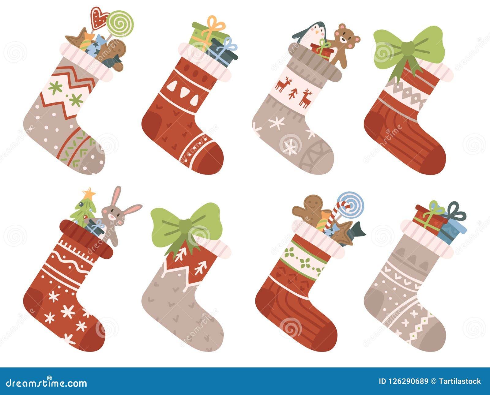 низкопробная картина конструкции цвета рождества socks вода Чулок или носок Xmas с снежинками, снеговиком и Сантой Эльфы хелперов