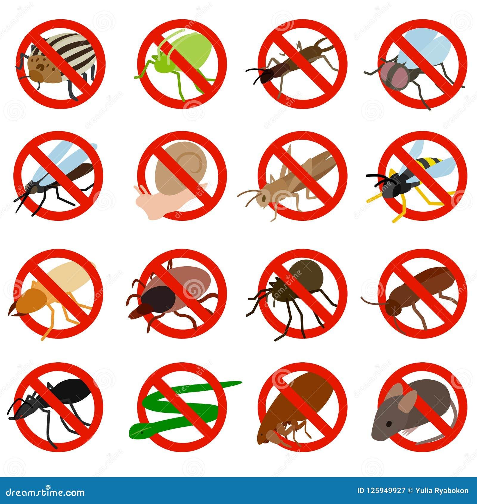 Никакие значки знака насекомого не установили, равновеликий стиль 3d
