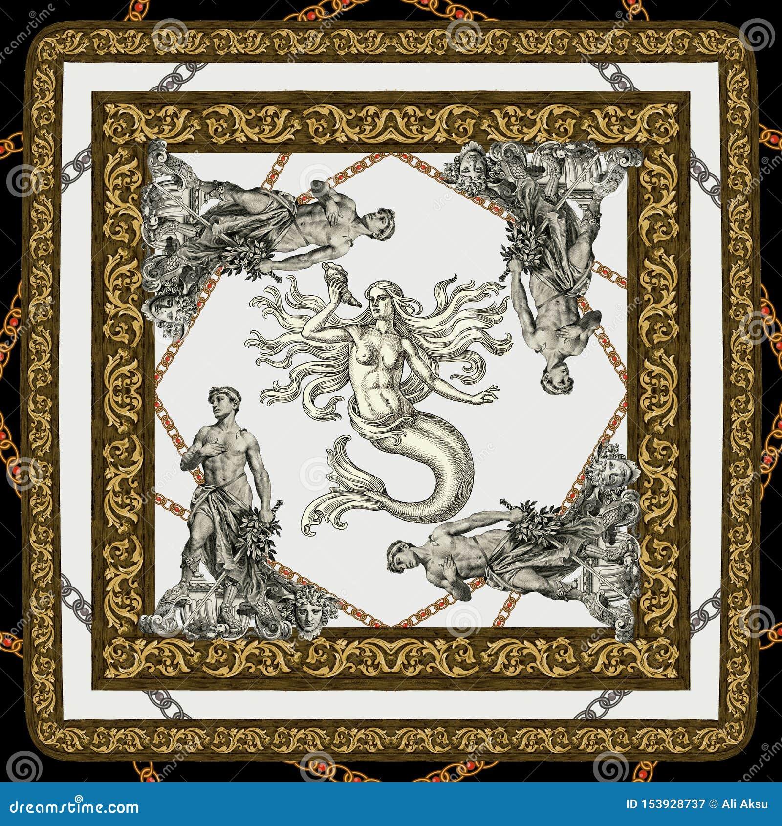 Новое барокк антиквариата сезона в античной русалке на белой картине предпосылки