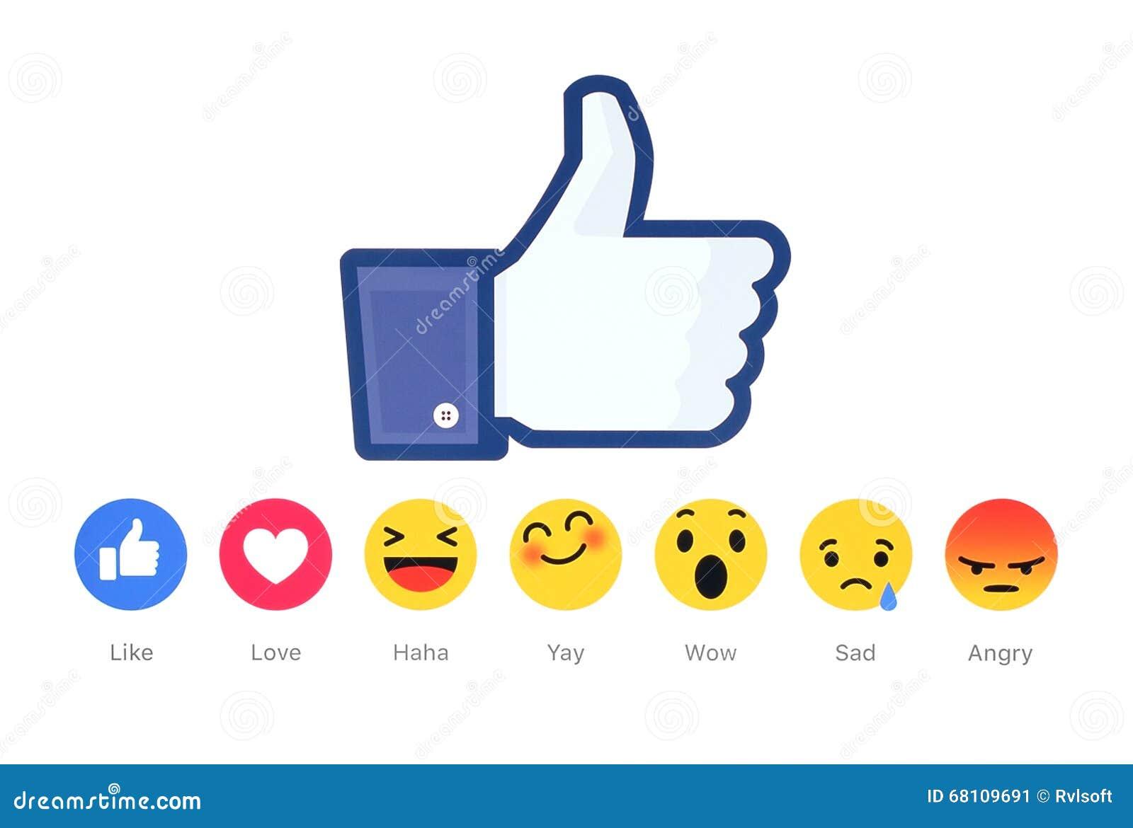 Новое Facebook любит реакции Emoji кнопки 6 чуткие