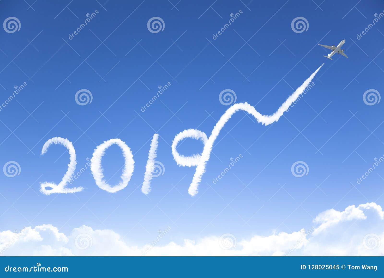 Новый Год 2019 и концепция роста дела рисовать airpl
