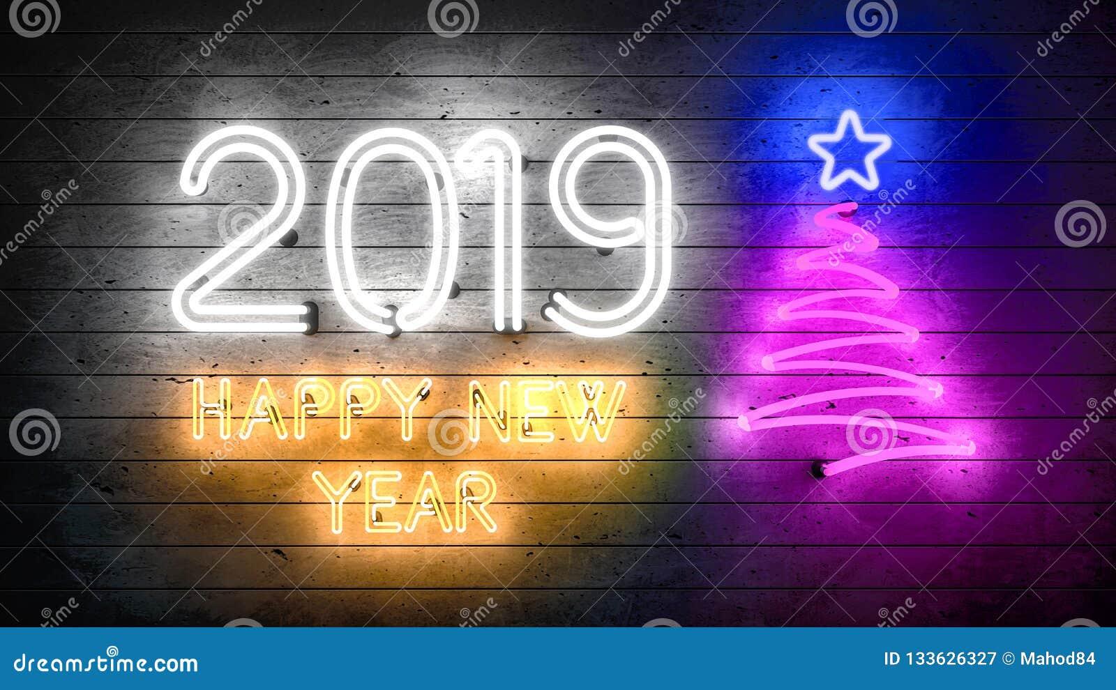 Новый Год 2019 Неоновые формы с светами