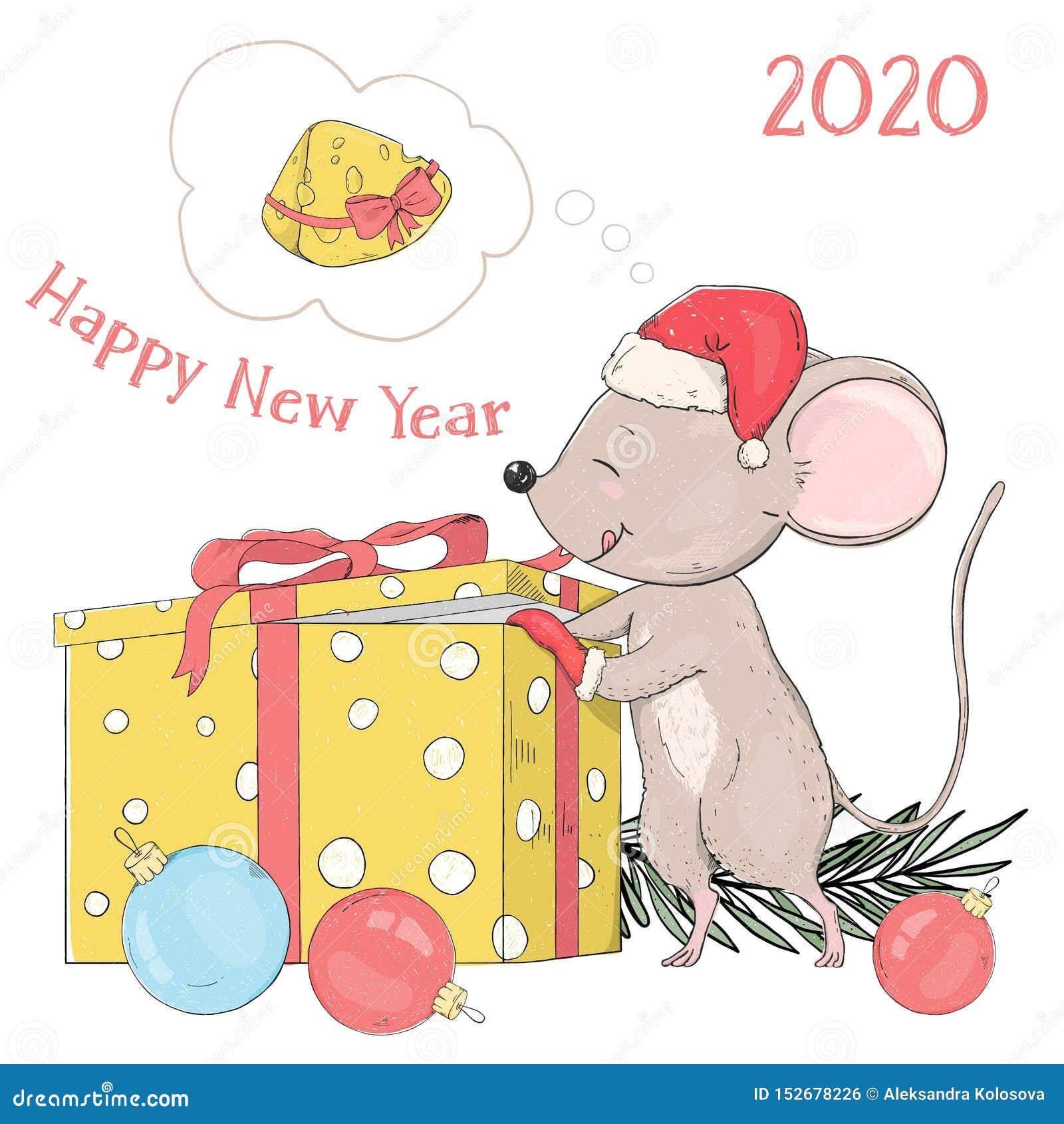 Новый Год 2020 Открытка со смешной маленькой мышью в шляпе ...