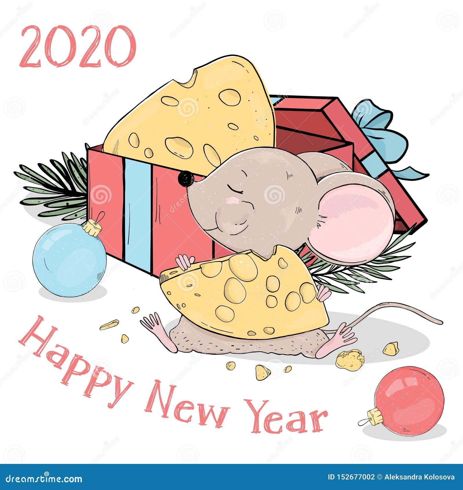 Новый Год 2020 Открытка со смешной маленькой мышью с сыром ...