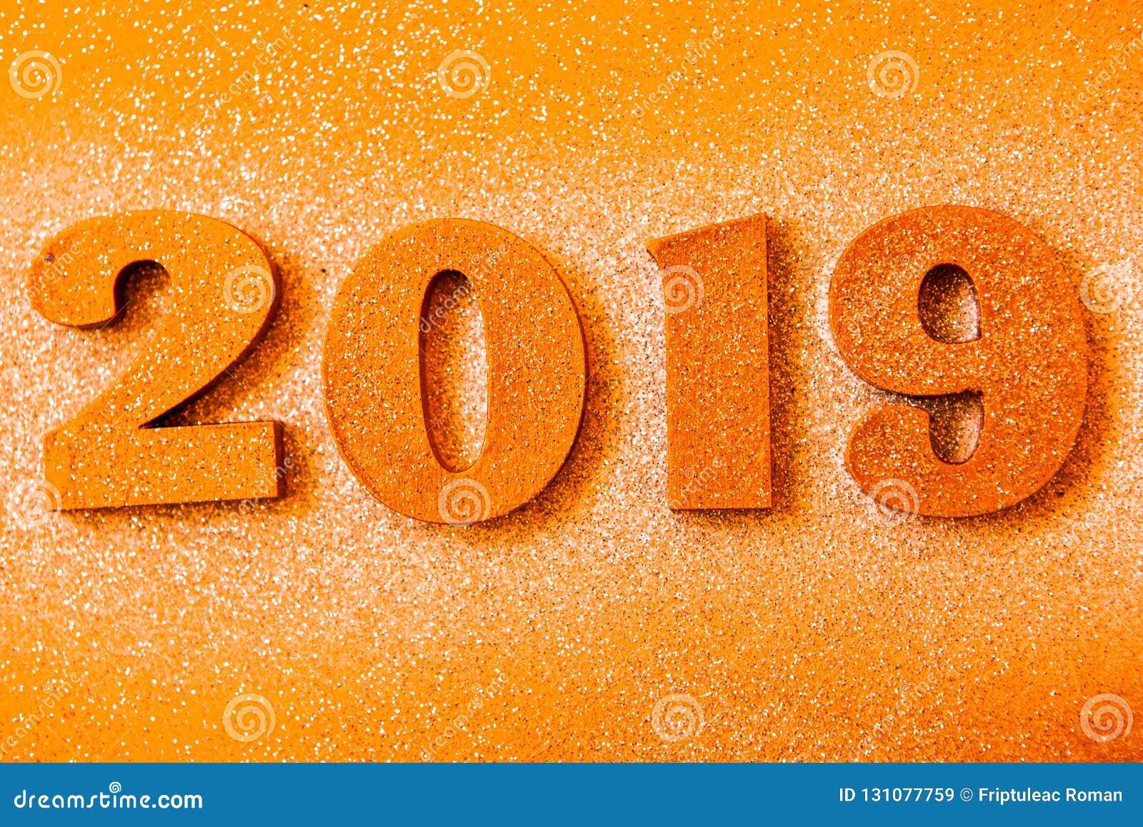 Новый Год принципиальной схемы С Новым Годом! знамя с золотом 2019 номеров Творческая предпосылка 2019
